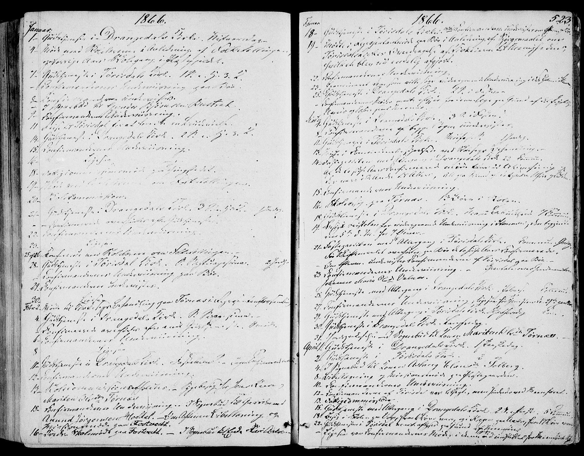 SAKO, Drangedal kirkebøker, F/Fa/L0008: Ministerialbok nr. 8, 1857-1871, s. 523