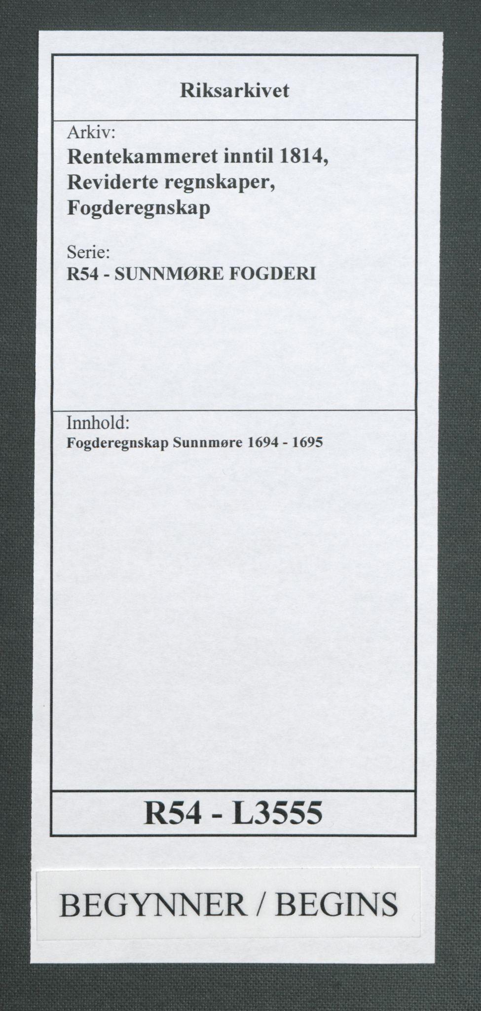 RA, Rentekammeret inntil 1814, Reviderte regnskaper, Fogderegnskap, R54/L3555: Fogderegnskap Sunnmøre, 1694-1695, s. 1