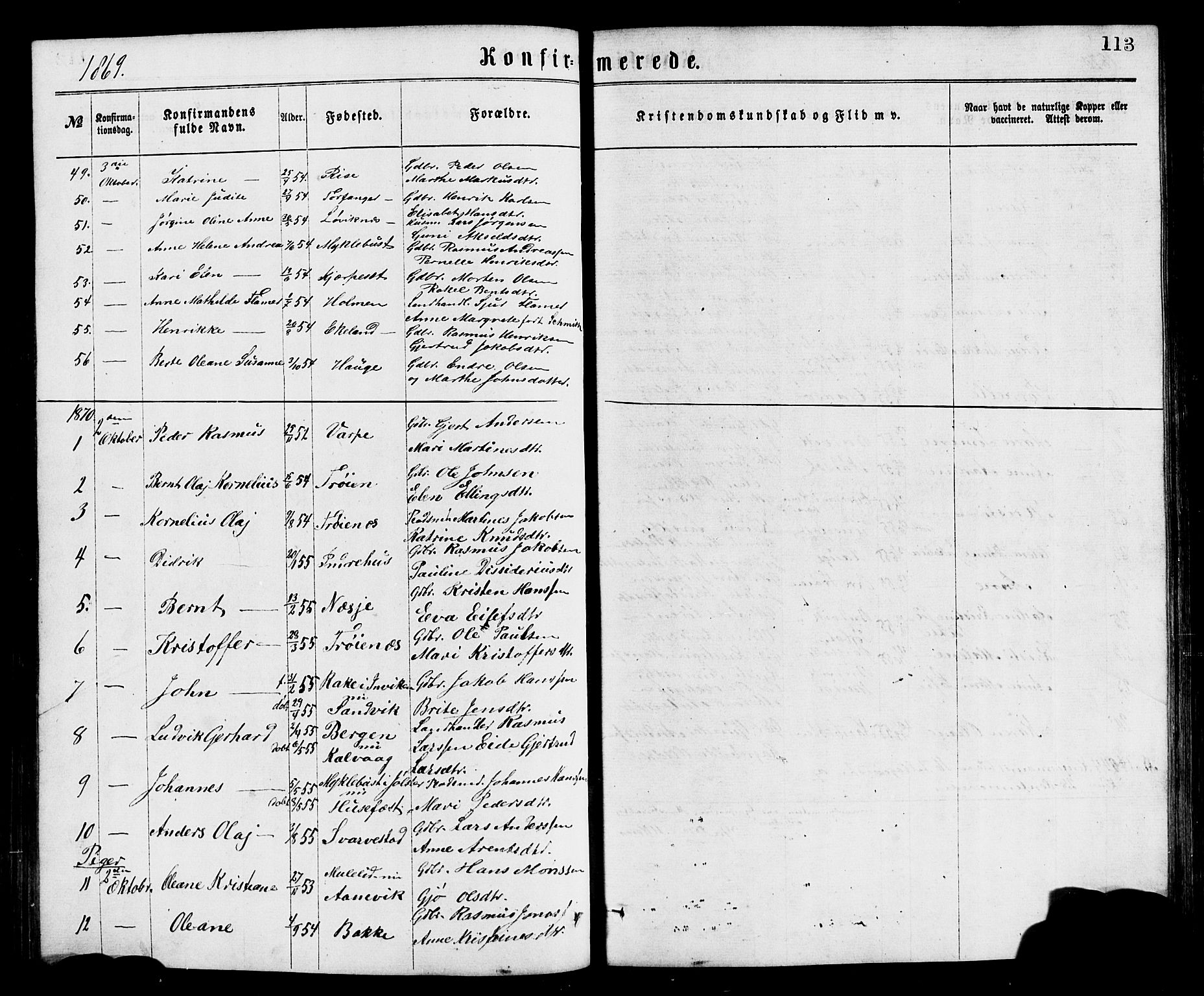 SAB, Bremanger Sokneprestembete, H/Hab: Klokkerbok nr. A 2, 1866-1889, s. 113