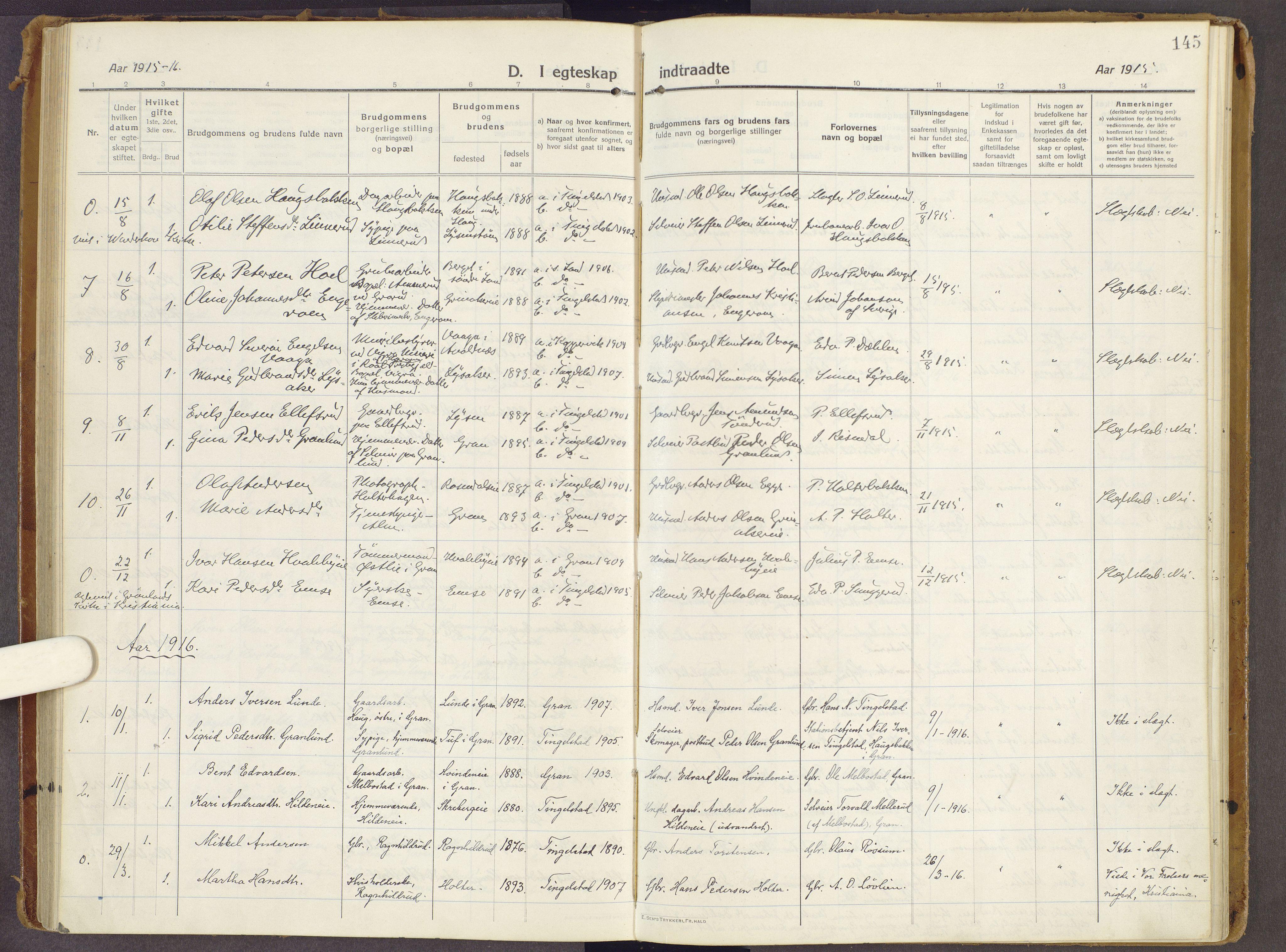 SAH, Brandbu prestekontor, Ministerialbok nr. 3, 1914-1928, s. 145