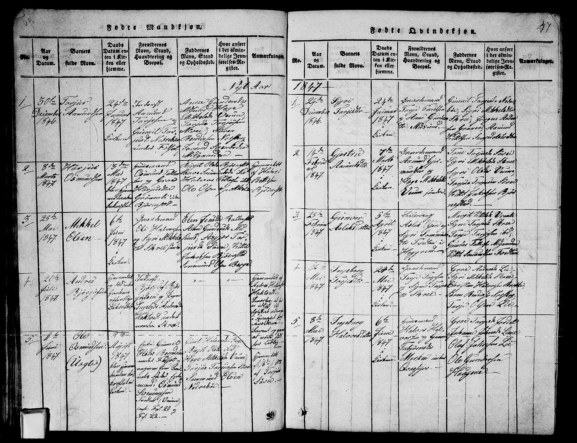SAKO, Fyresdal kirkebøker, G/Ga/L0003: Klokkerbok nr. I 3, 1815-1863, s. 47