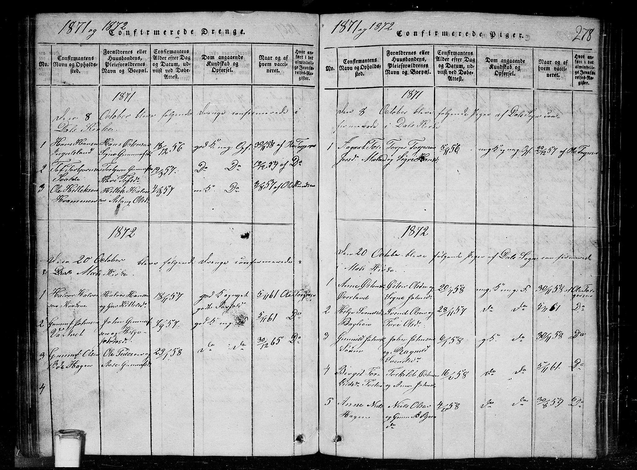 SAKO, Tinn kirkebøker, G/Gc/L0001: Klokkerbok nr. III 1, 1815-1879, s. 278
