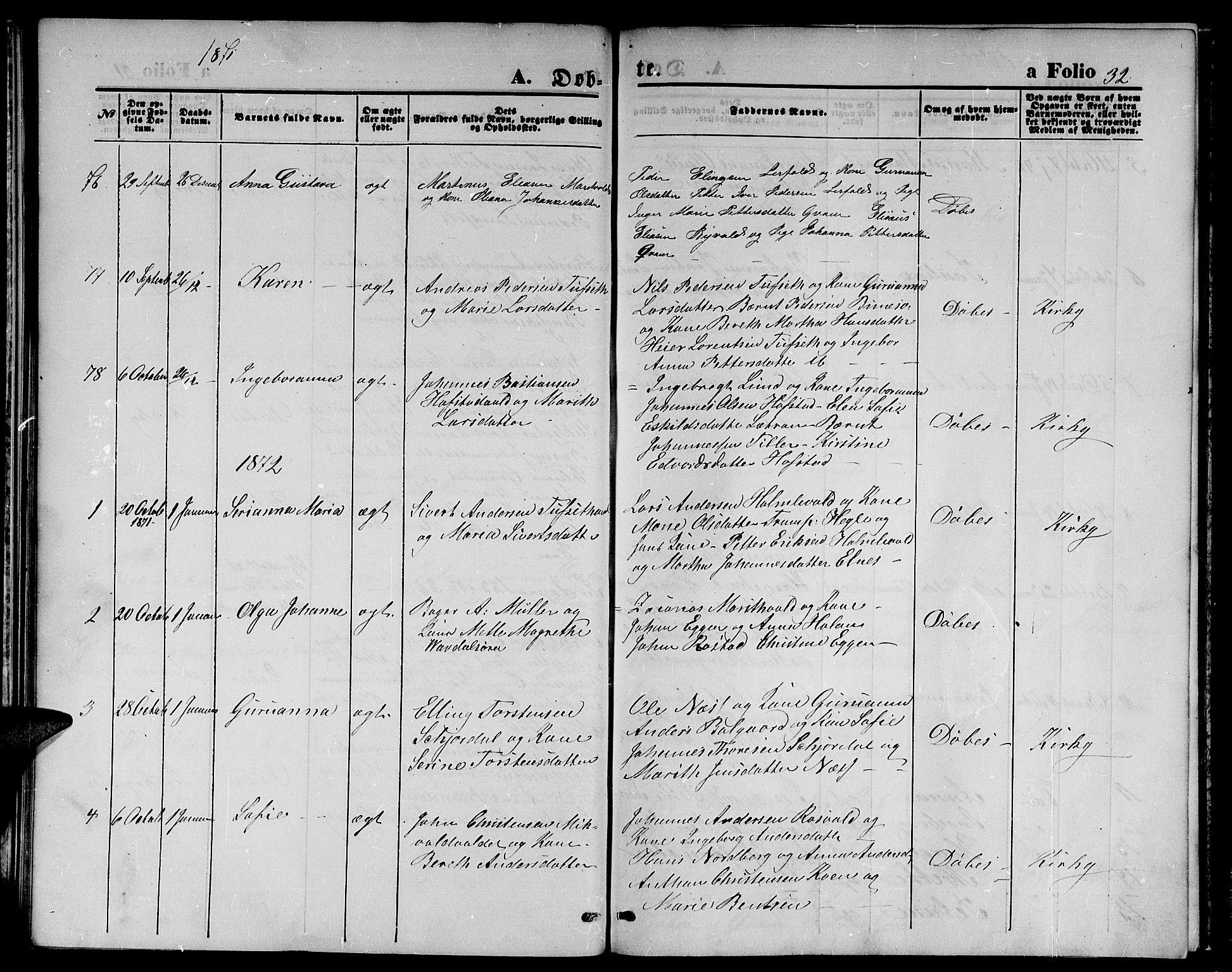 SAT, Ministerialprotokoller, klokkerbøker og fødselsregistre - Nord-Trøndelag, 723/L0255: Klokkerbok nr. 723C03, 1869-1879, s. 32