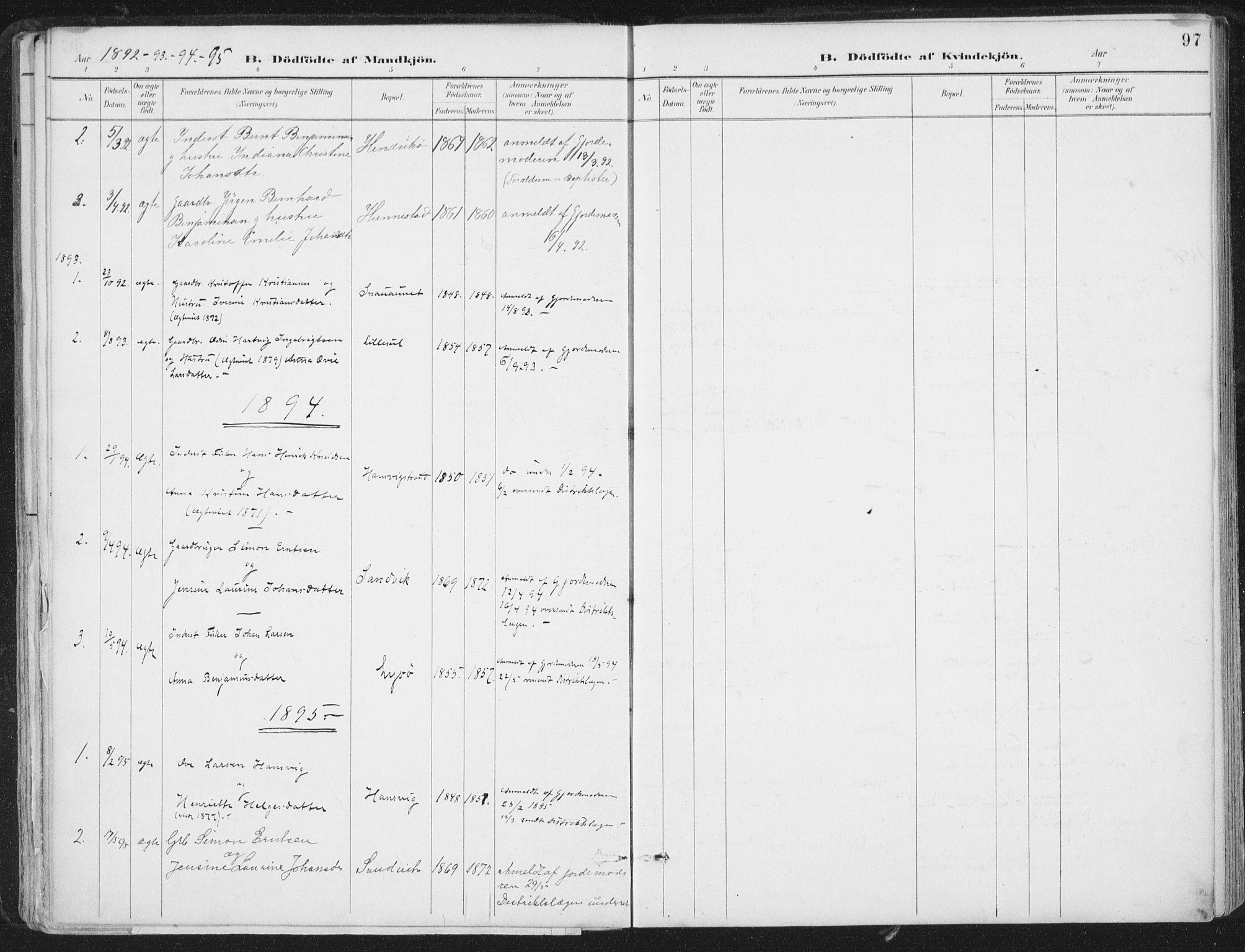 SAT, Ministerialprotokoller, klokkerbøker og fødselsregistre - Nord-Trøndelag, 786/L0687: Ministerialbok nr. 786A03, 1888-1898, s. 97