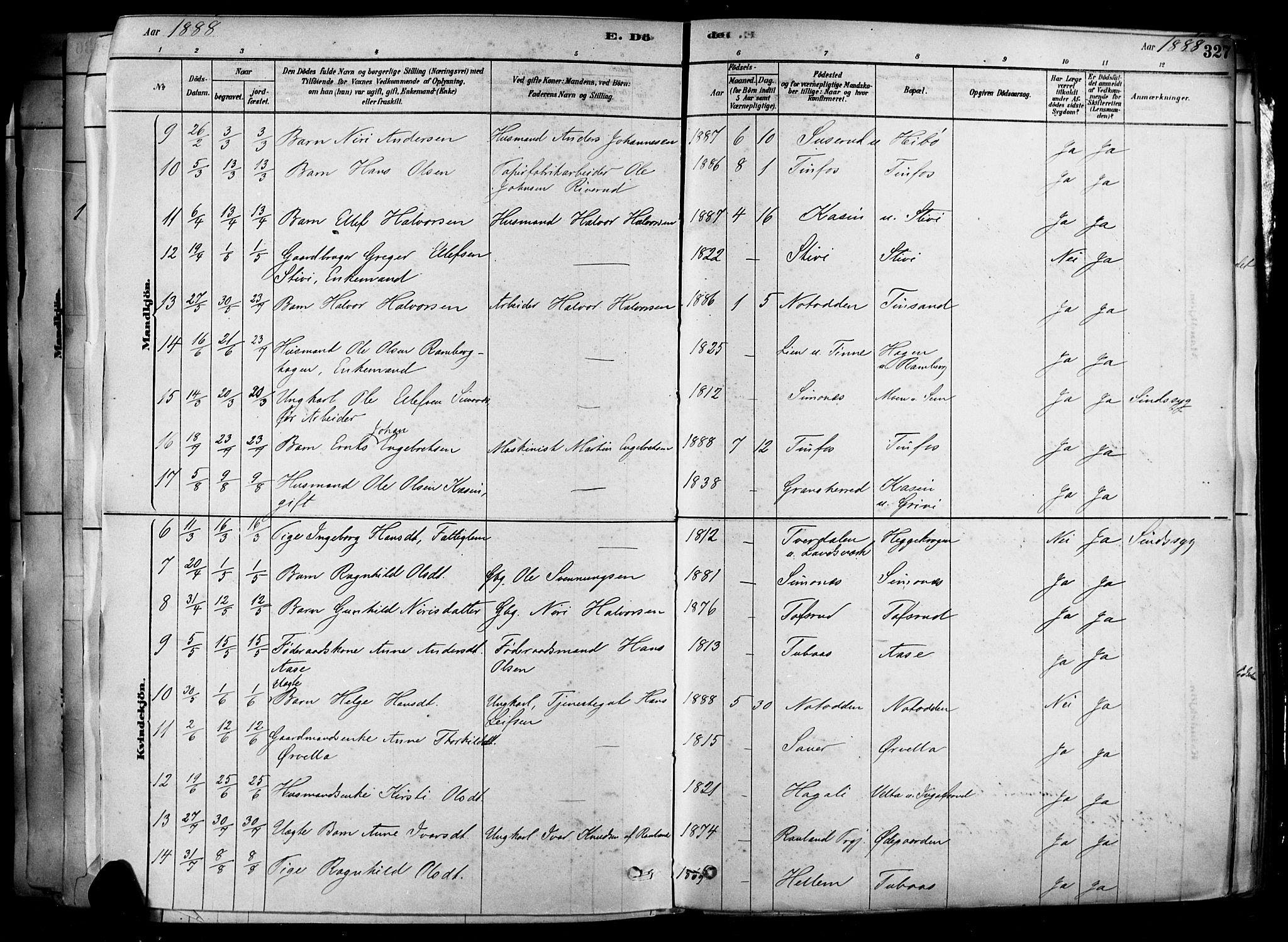 SAKO, Heddal kirkebøker, F/Fa/L0008: Ministerialbok nr. I 8, 1878-1903, s. 327