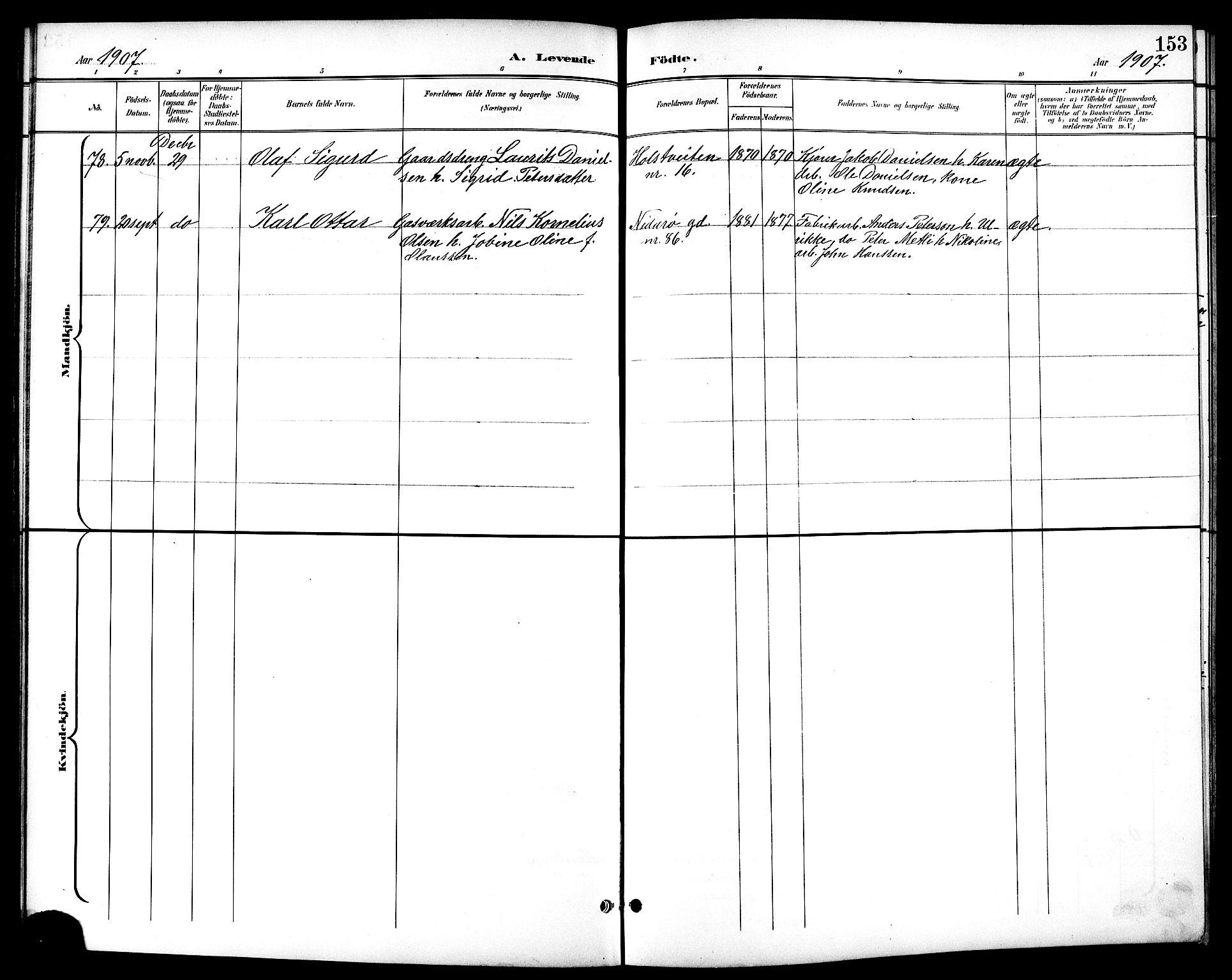 SAT, Ministerialprotokoller, klokkerbøker og fødselsregistre - Sør-Trøndelag, 601/L0094: Klokkerbok nr. 601C12, 1898-1911, s. 153