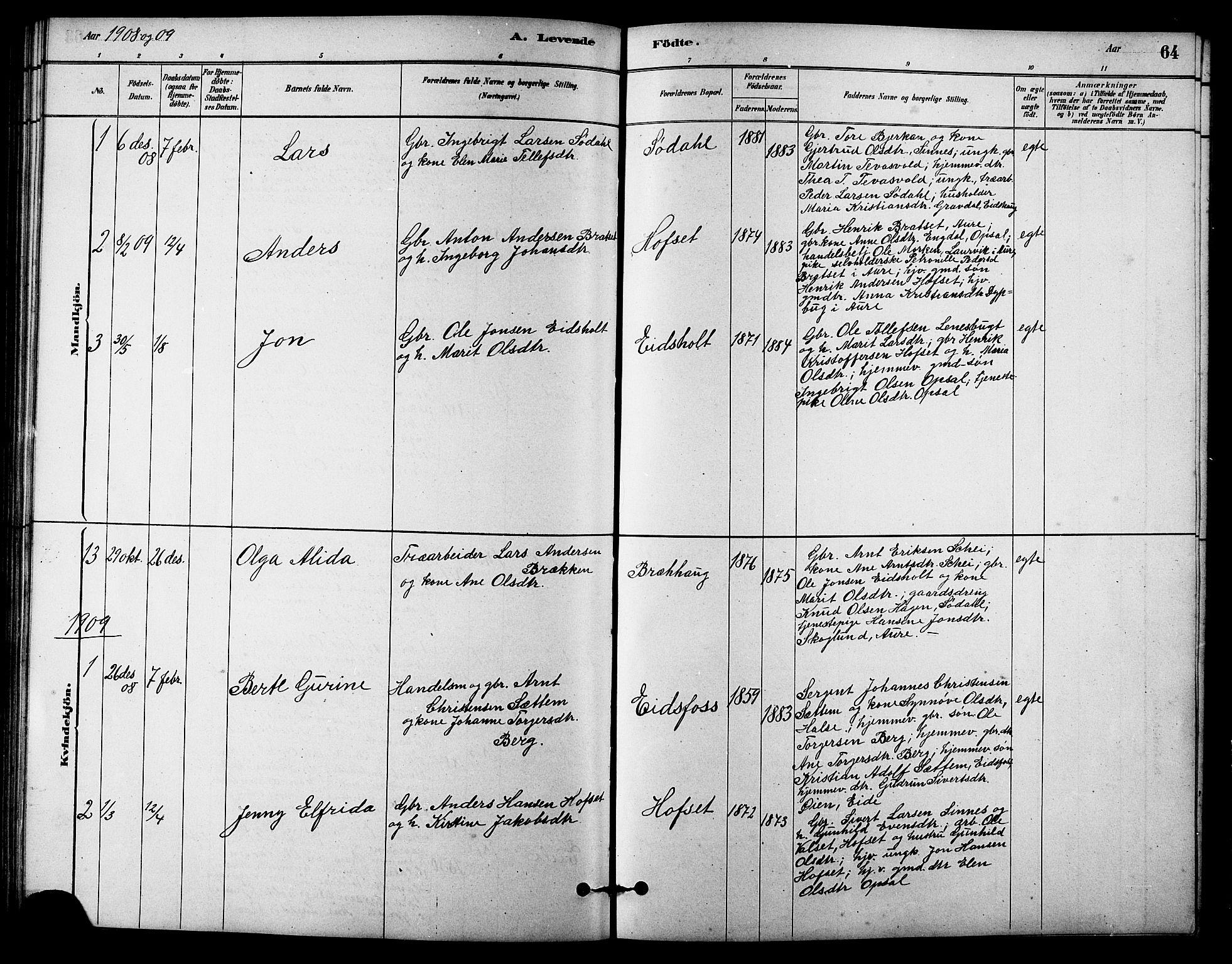SAT, Ministerialprotokoller, klokkerbøker og fødselsregistre - Sør-Trøndelag, 631/L0514: Klokkerbok nr. 631C02, 1879-1912, s. 64