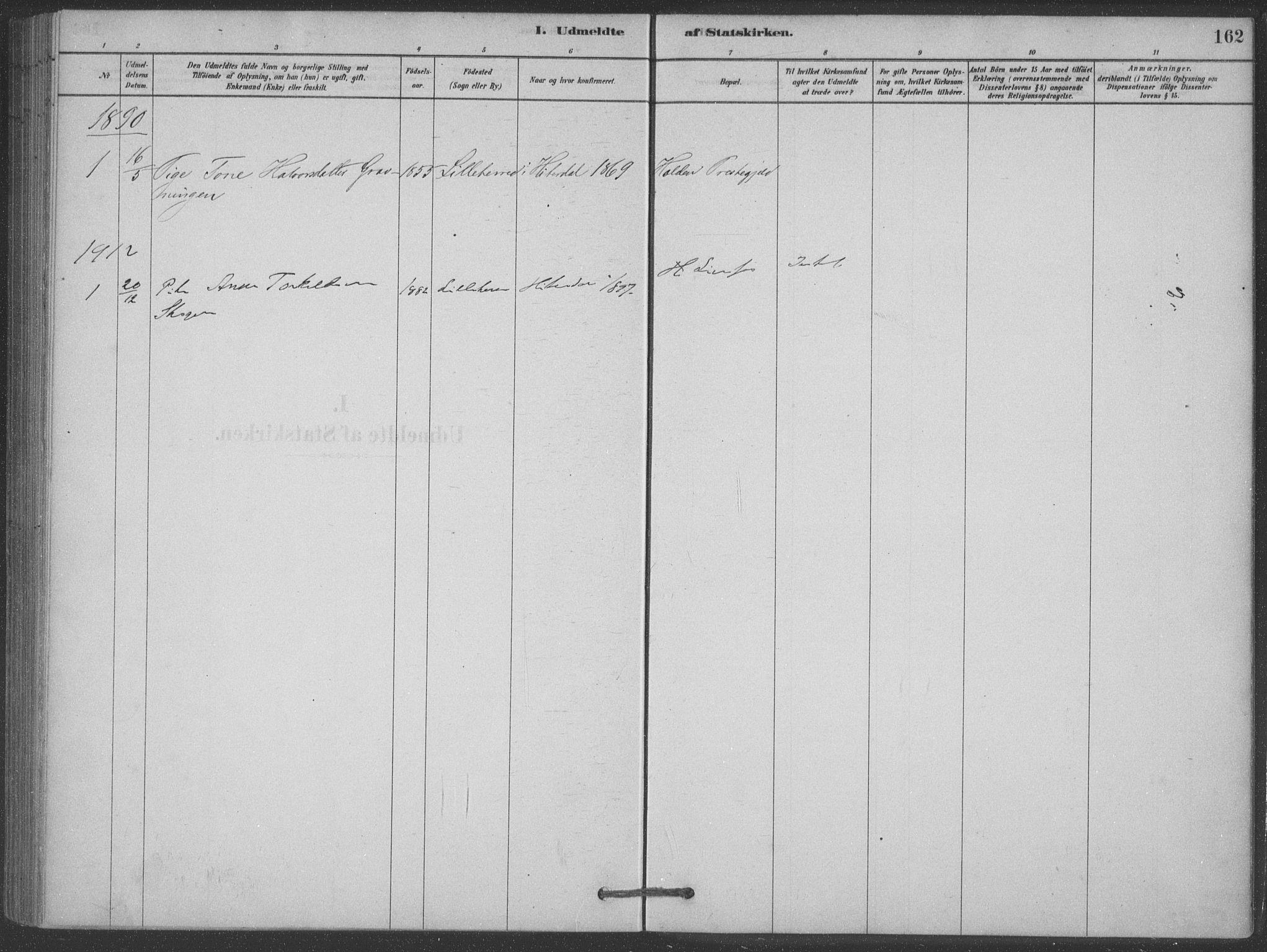 SAKO, Heddal kirkebøker, F/Fb/L0002: Ministerialbok nr. II 2, 1878-1913, s. 162