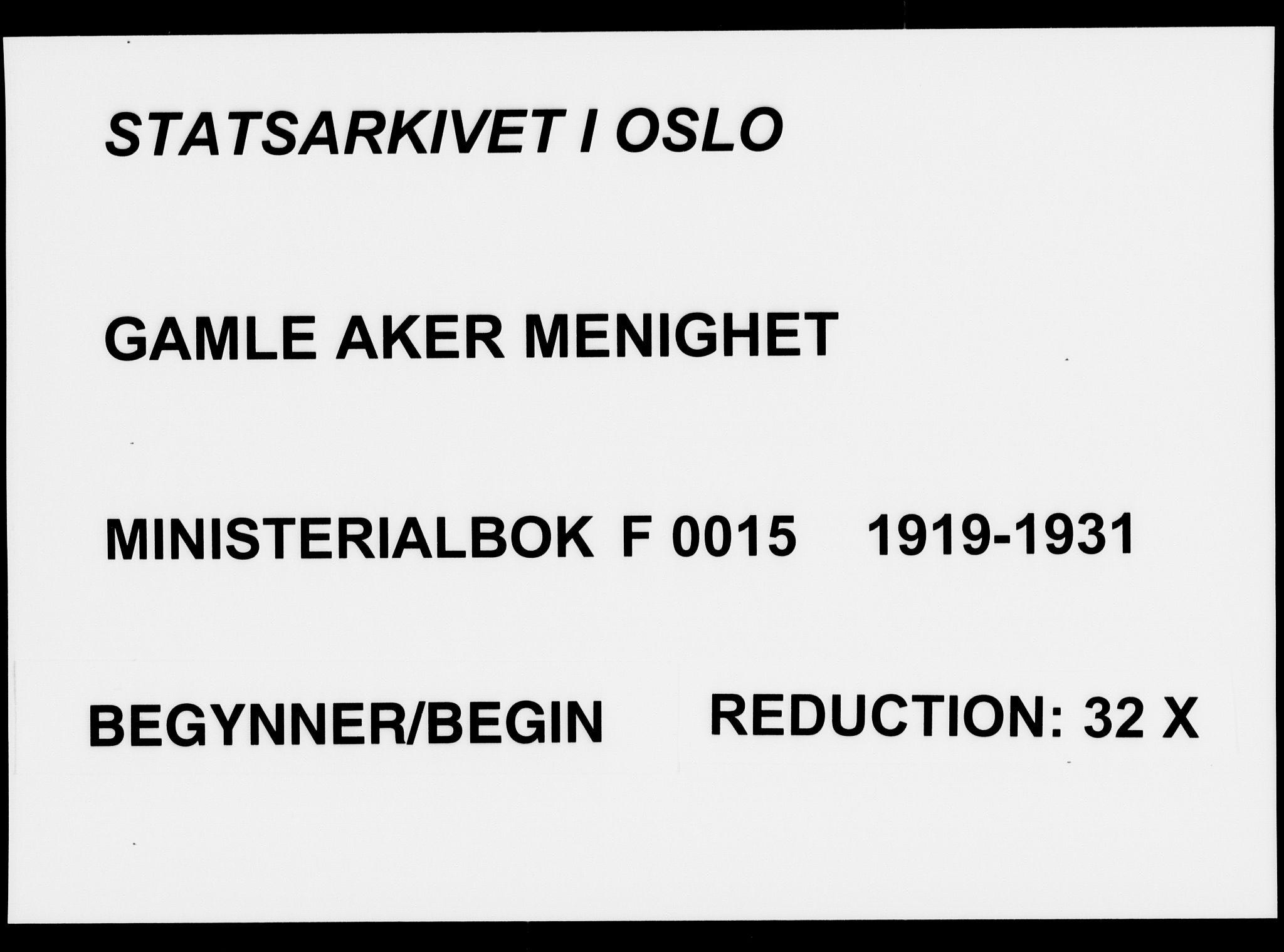 SAO, Gamle Aker prestekontor Kirkebøker, F/L0016: Ministerialbok nr. 16, 1919-1931