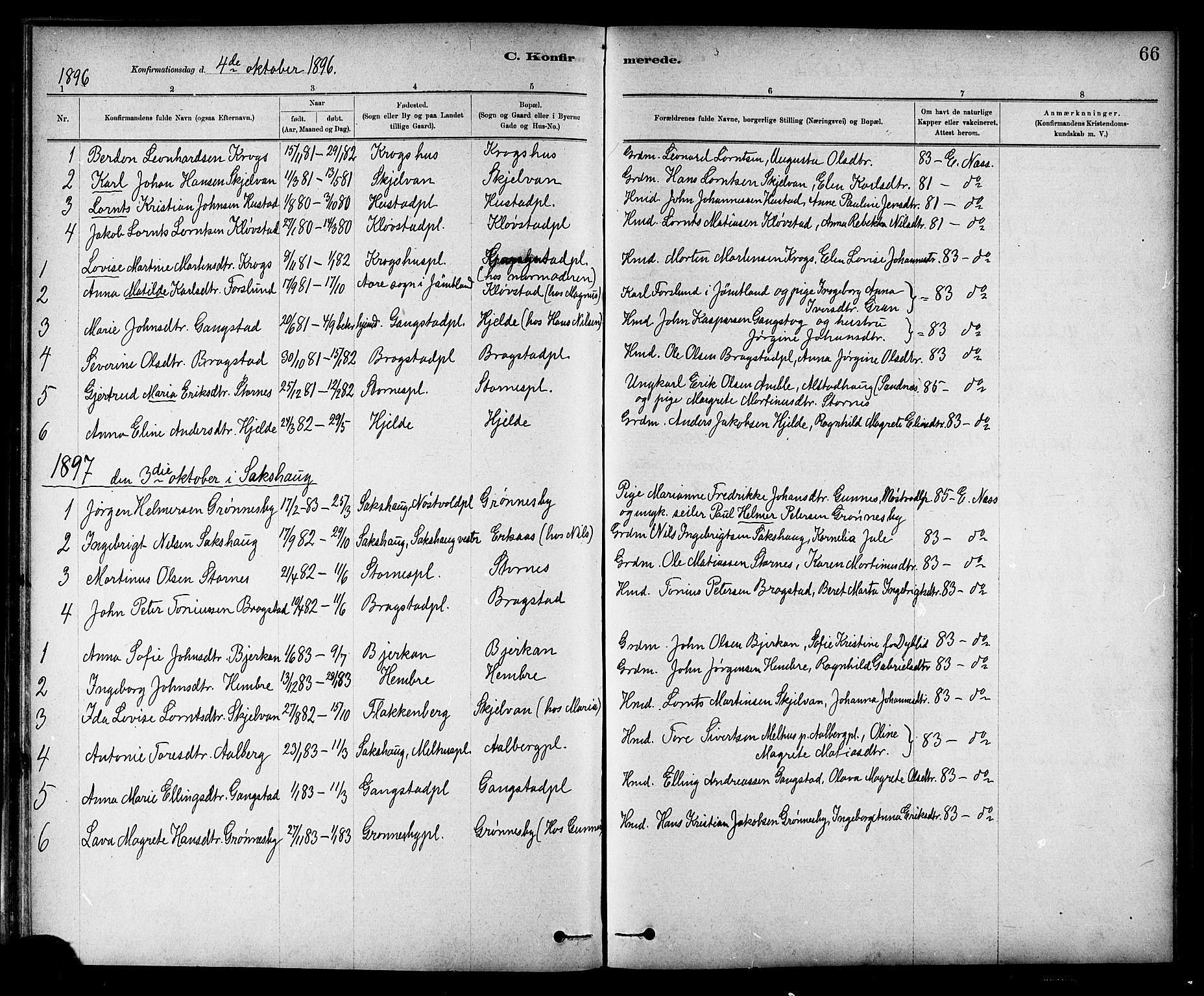SAT, Ministerialprotokoller, klokkerbøker og fødselsregistre - Nord-Trøndelag, 732/L0318: Klokkerbok nr. 732C02, 1881-1911, s. 66