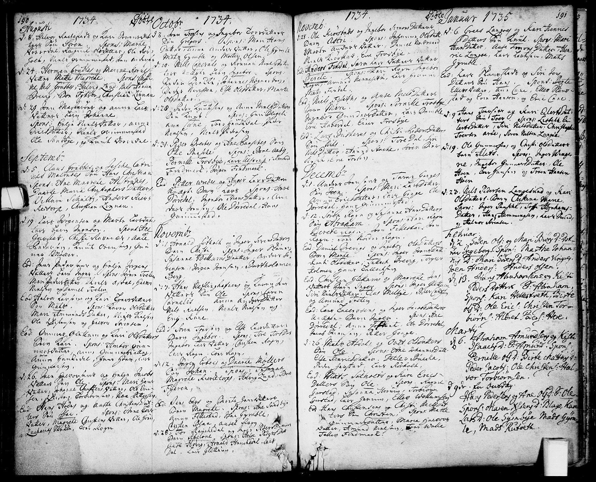 SAKO, Bamble kirkebøker, F/Fa/L0001: Ministerialbok nr. I 1, 1702-1774, s. 190-191
