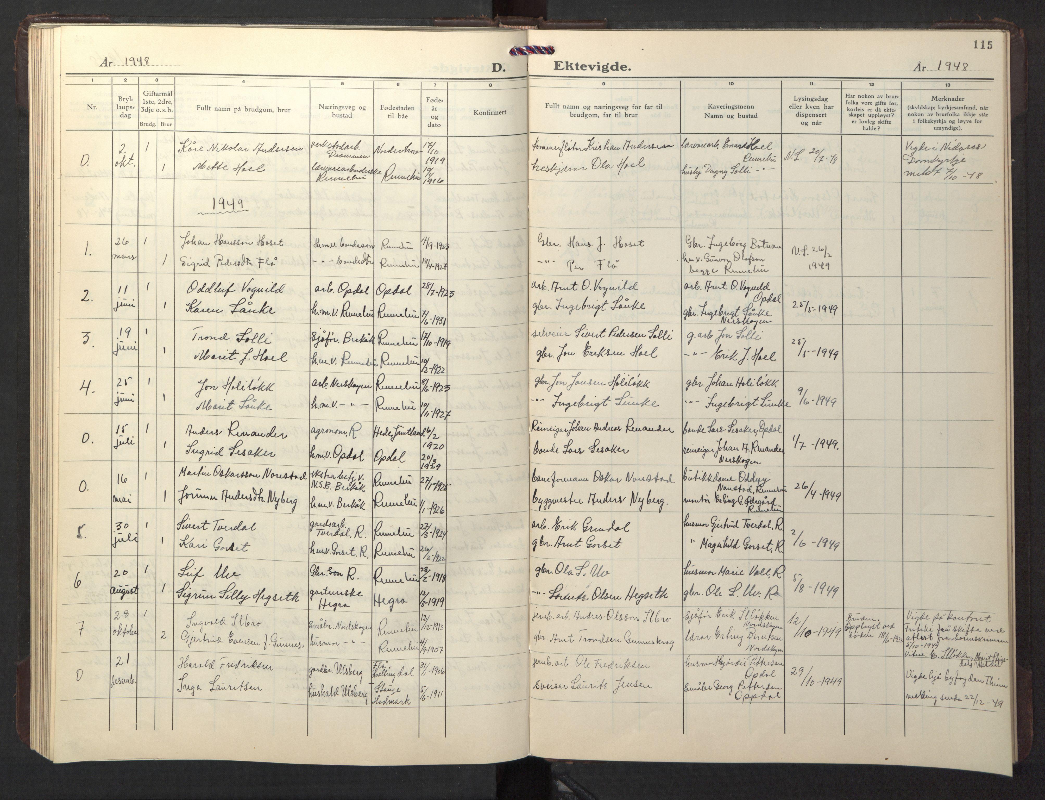 SAT, Ministerialprotokoller, klokkerbøker og fødselsregistre - Sør-Trøndelag, 674/L0878: Klokkerbok nr. 674C05, 1941-1950, s. 115