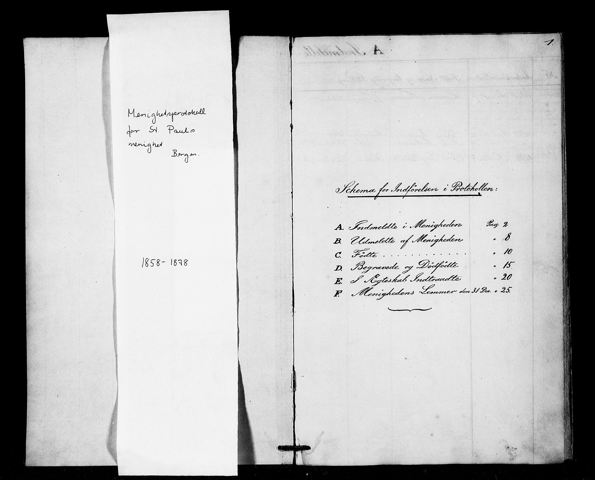 SAB, Arkivreferanse mangler*, Dissenterprotokoll nr. -, 1858-1878, s. 1
