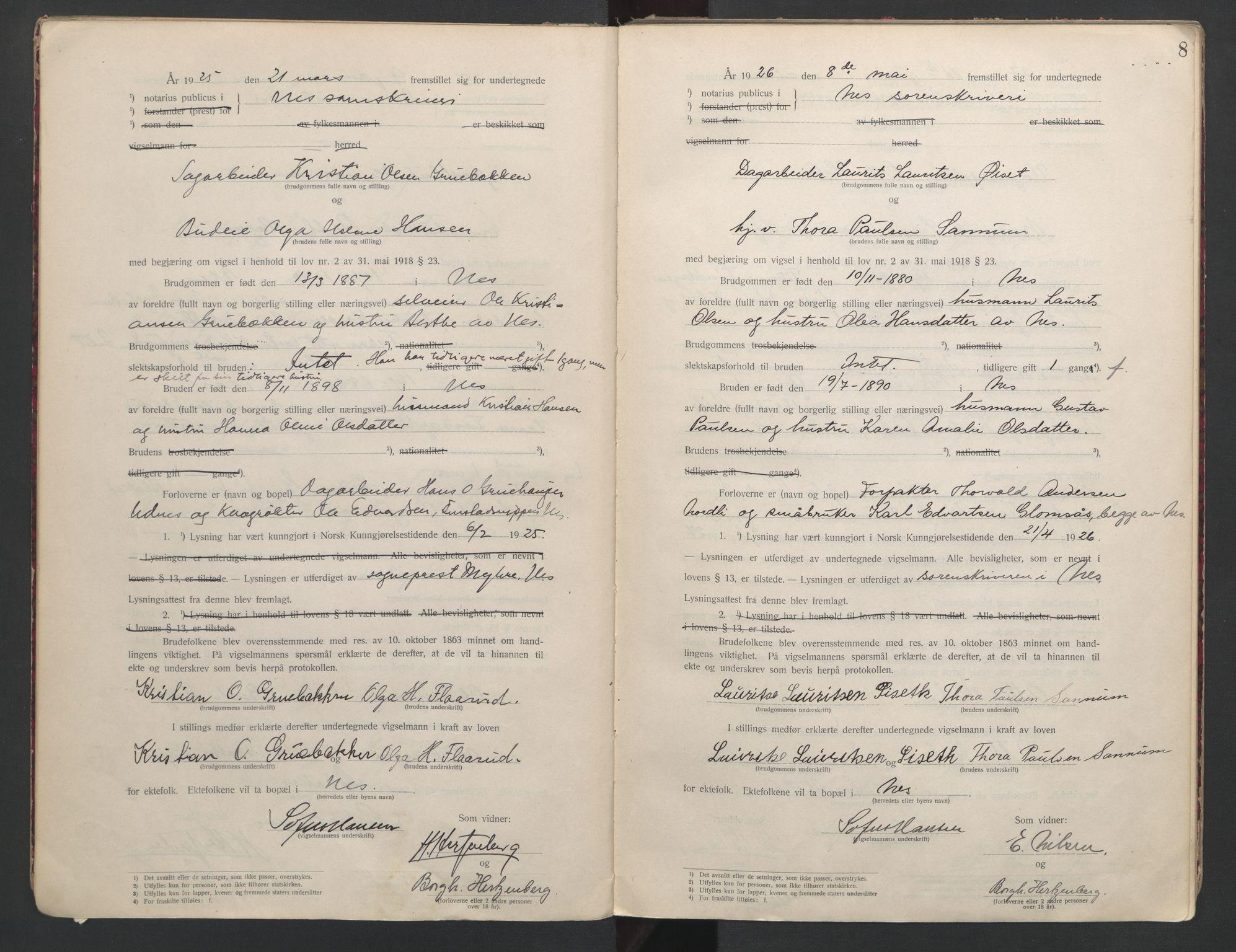 SAO, Nes tingrett, L/Lc/Lca/L0001: Vigselbok, 1920-1943, s. 8