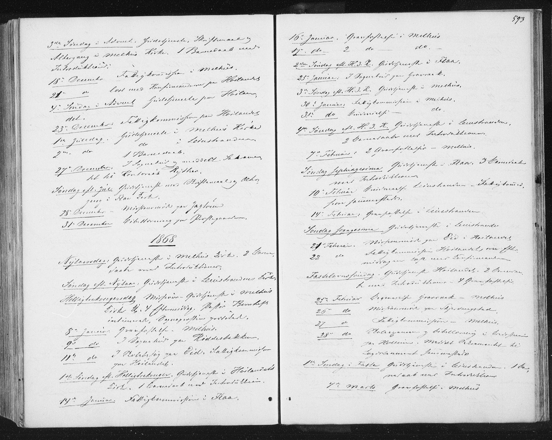 SAT, Ministerialprotokoller, klokkerbøker og fødselsregistre - Sør-Trøndelag, 691/L1077: Ministerialbok nr. 691A09, 1862-1873, s. 593