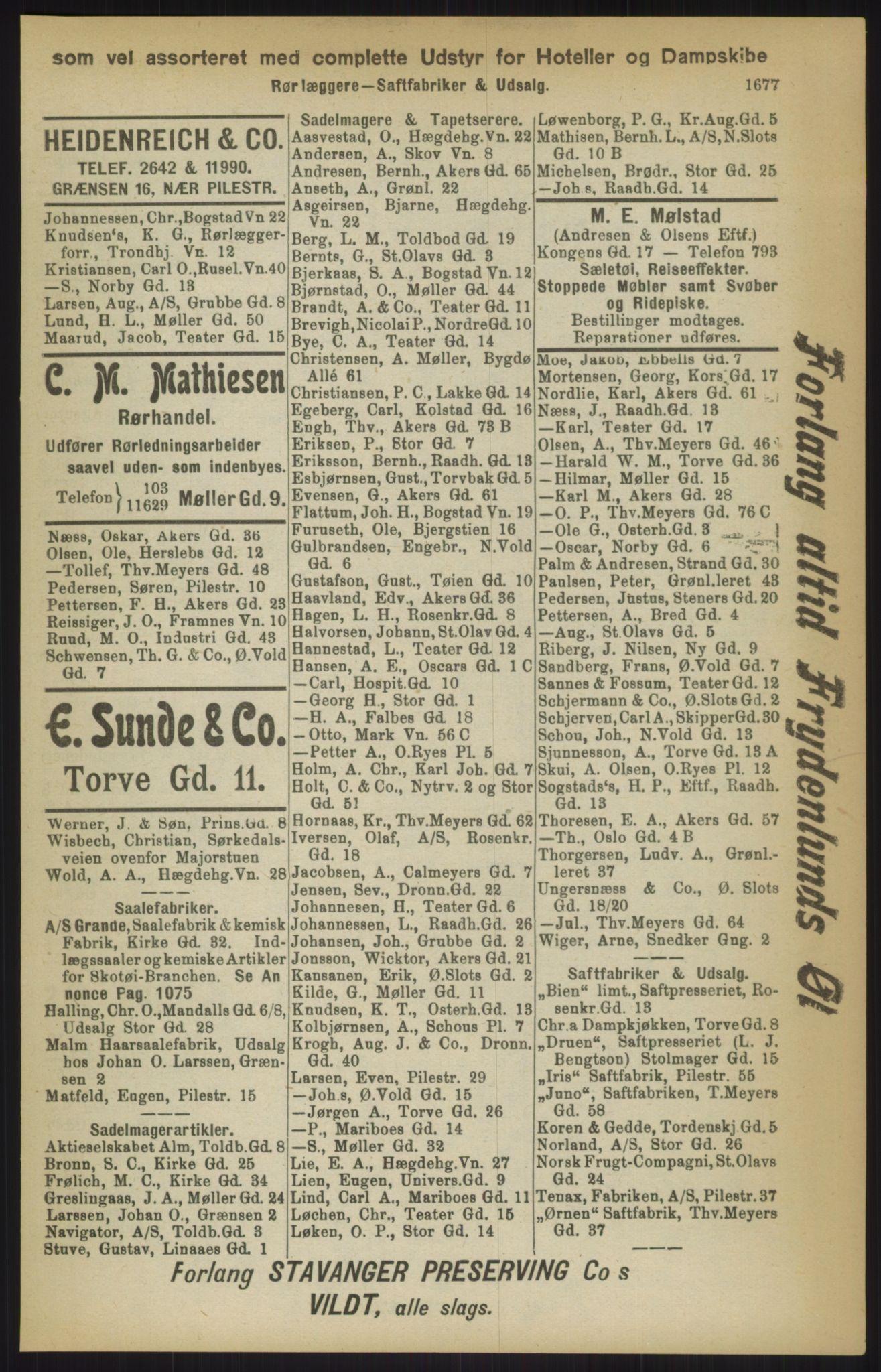 RA, Kristiania adressebok (publikasjon)*, 1911, s. 1677
