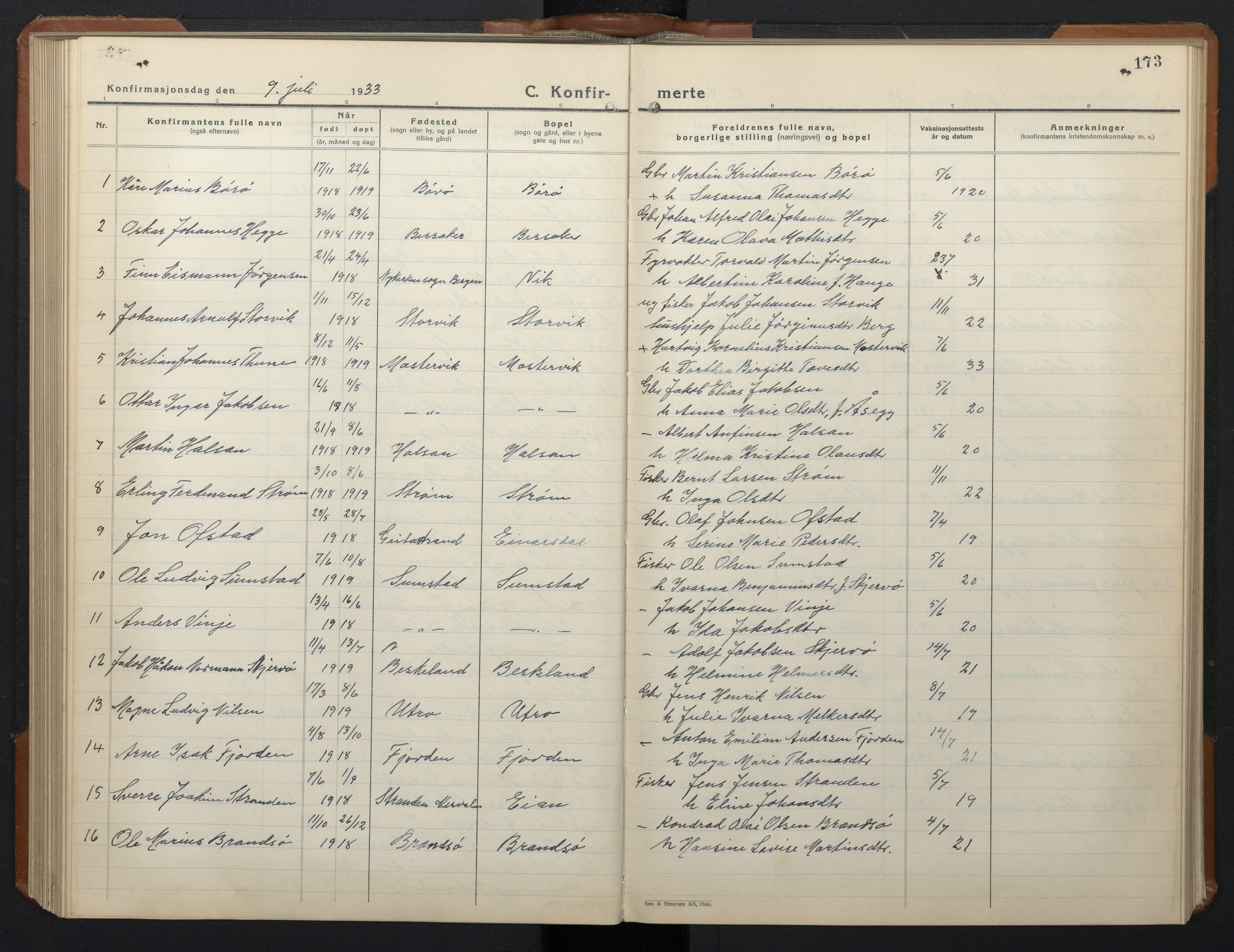 SAT, Ministerialprotokoller, klokkerbøker og fødselsregistre - Sør-Trøndelag, 657/L0718: Klokkerbok nr. 657C05, 1923-1948, s. 173