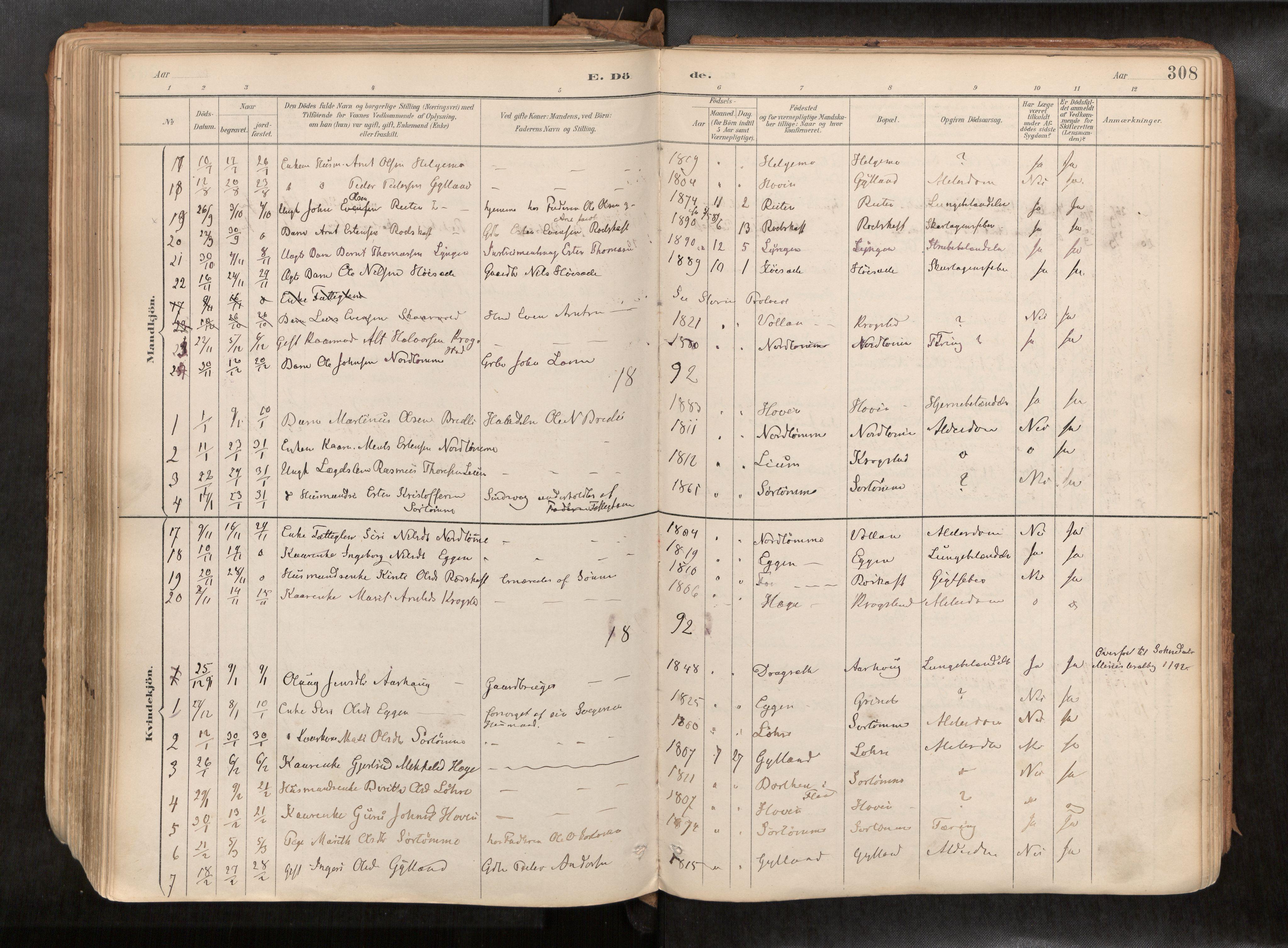 SAT, Ministerialprotokoller, klokkerbøker og fødselsregistre - Sør-Trøndelag, 692/L1105b: Ministerialbok nr. 692A06, 1891-1934, s. 308