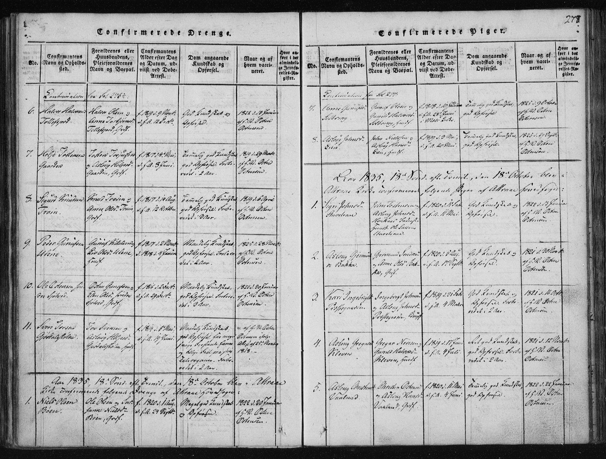 SAKO, Tinn kirkebøker, F/Fa/L0004: Ministerialbok nr. I 4, 1815-1843, s. 278
