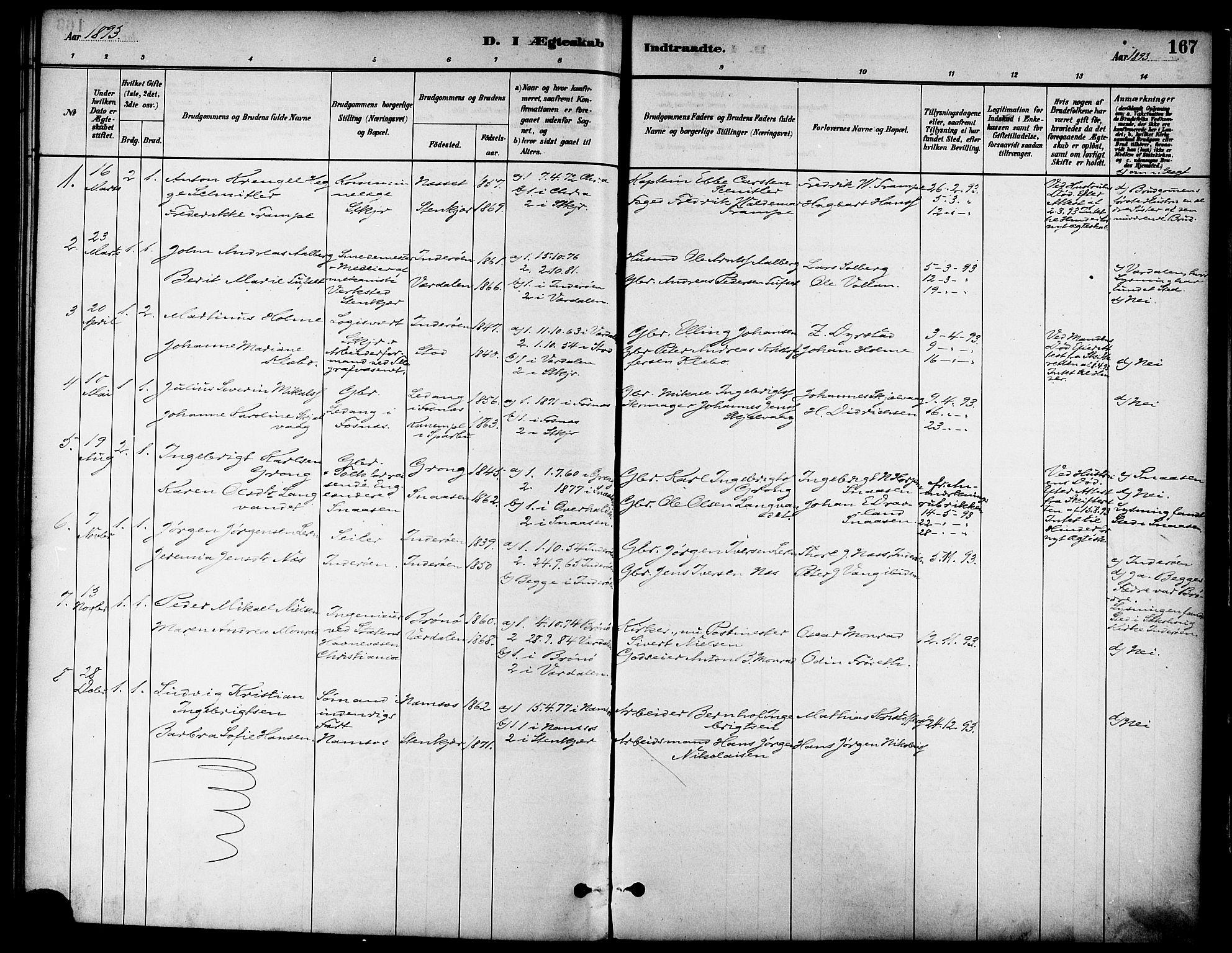 SAT, Ministerialprotokoller, klokkerbøker og fødselsregistre - Nord-Trøndelag, 739/L0371: Ministerialbok nr. 739A03, 1881-1895, s. 167