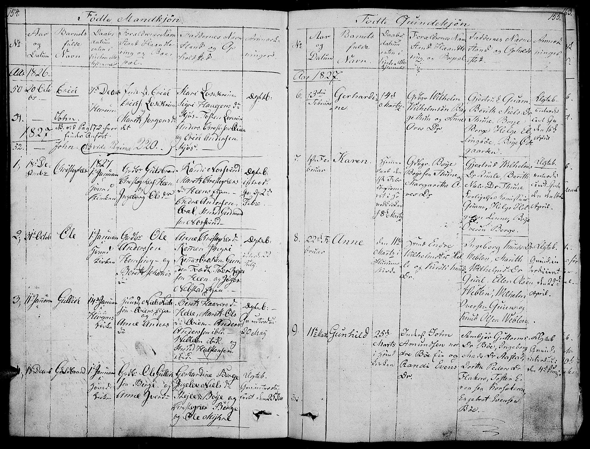 SAH, Vang prestekontor, Valdres, Ministerialbok nr. 3, 1809-1831, s. 154-155