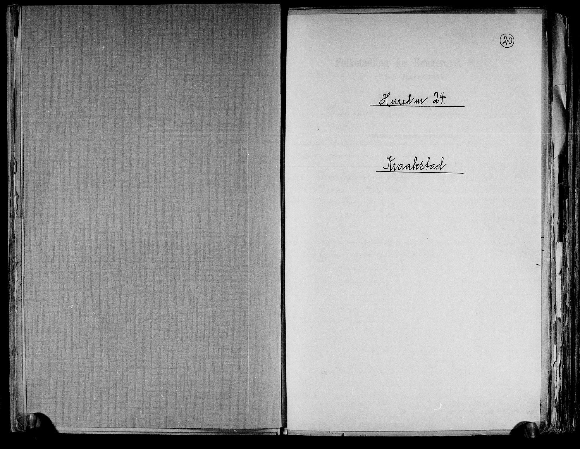 RA, Folketelling 1891 for 0212 Kråkstad herred, 1891, s. 1