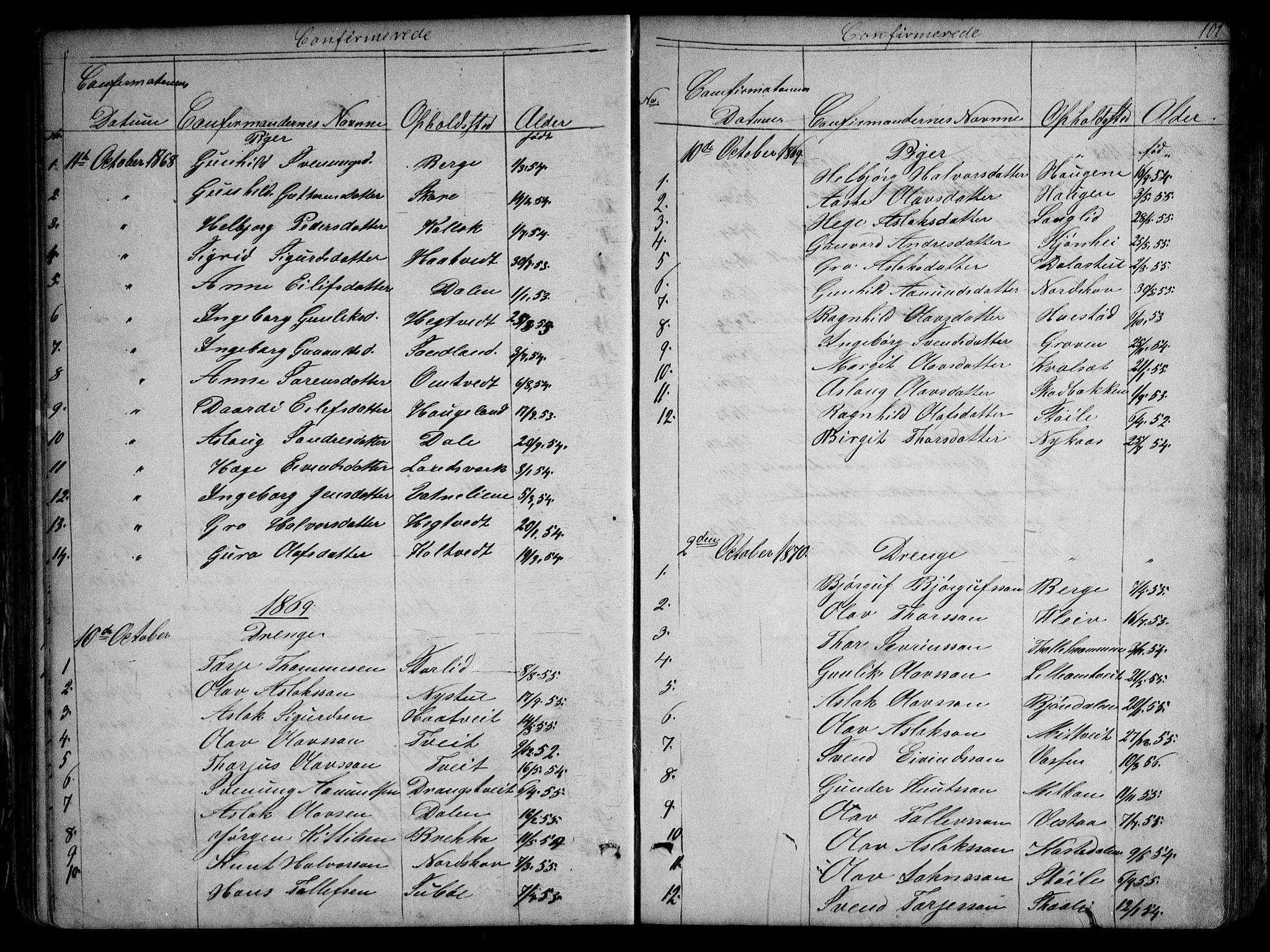 SAKO, Kviteseid kirkebøker, G/Gb/L0002: Klokkerbok nr. II 2, 1850-1892, s. 101