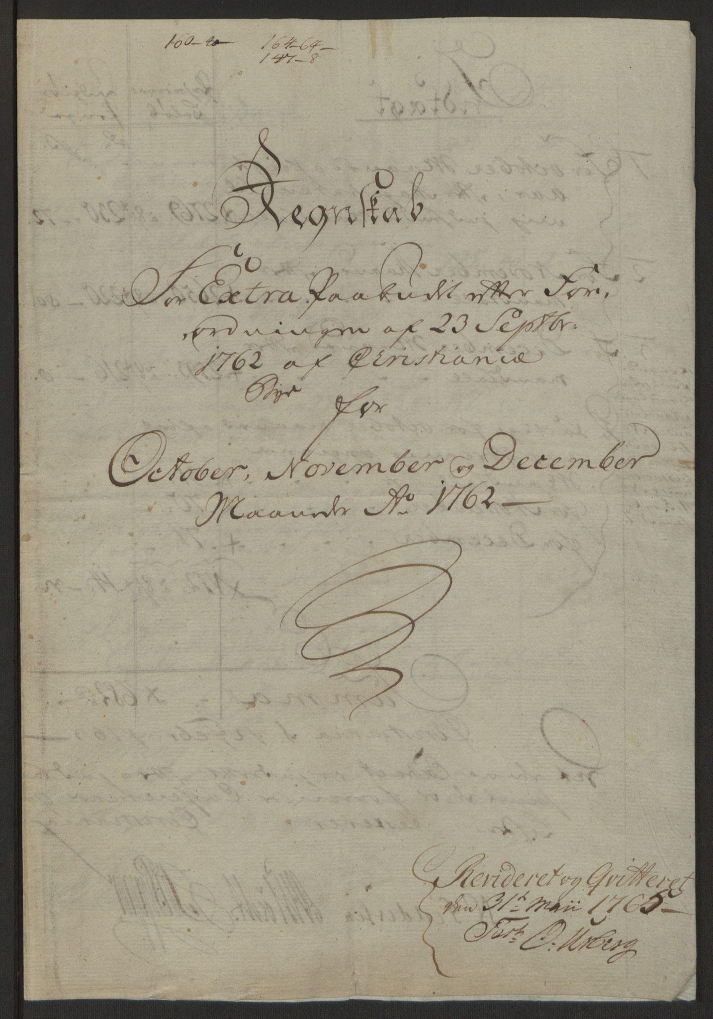 RA, Rentekammeret inntil 1814, Reviderte regnskaper, Byregnskaper, R/Re/L0071: [E13] Kontribusjonsregnskap, 1762, s. 5