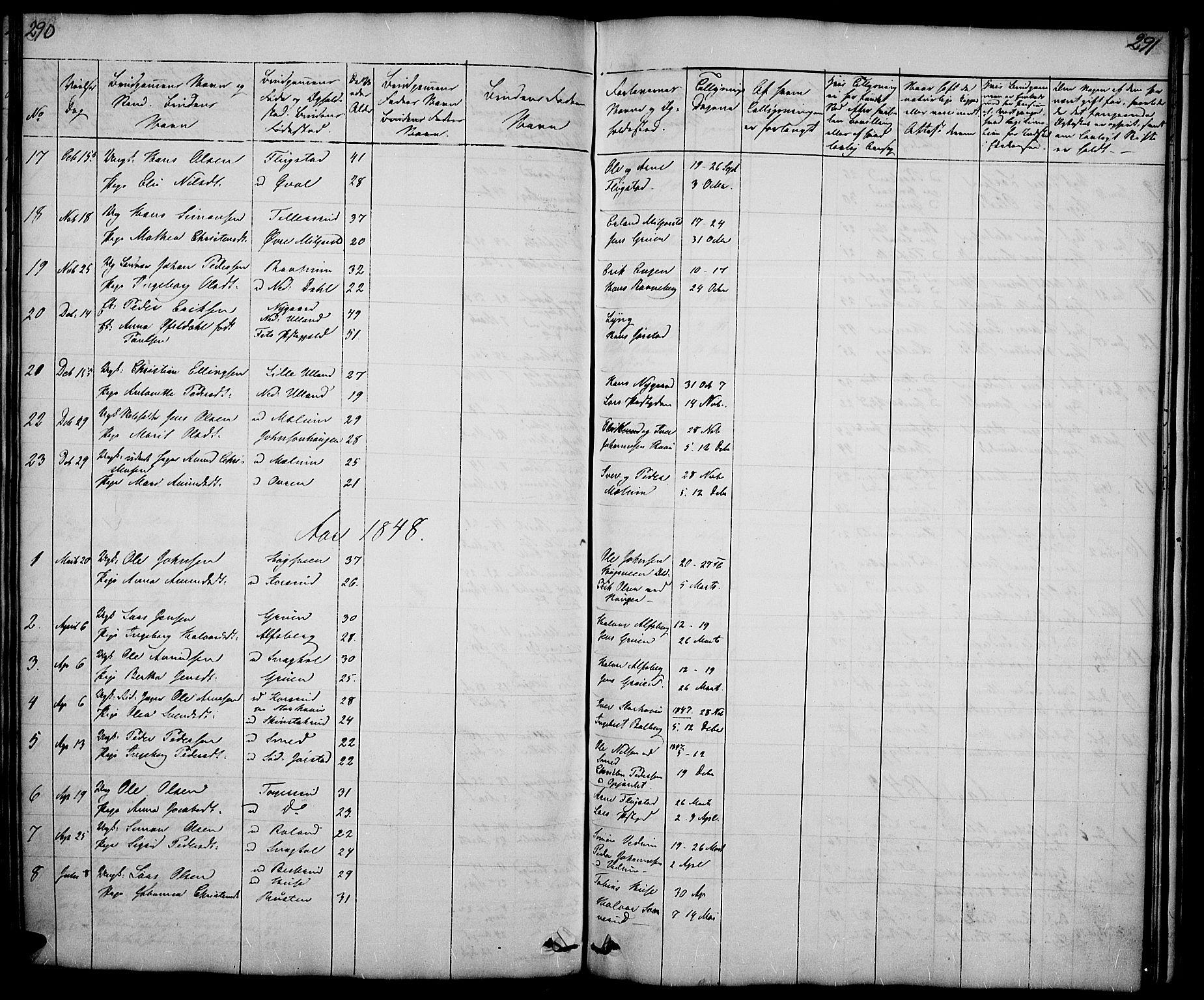 SAH, Fåberg prestekontor, Klokkerbok nr. 5, 1837-1864, s. 290-291
