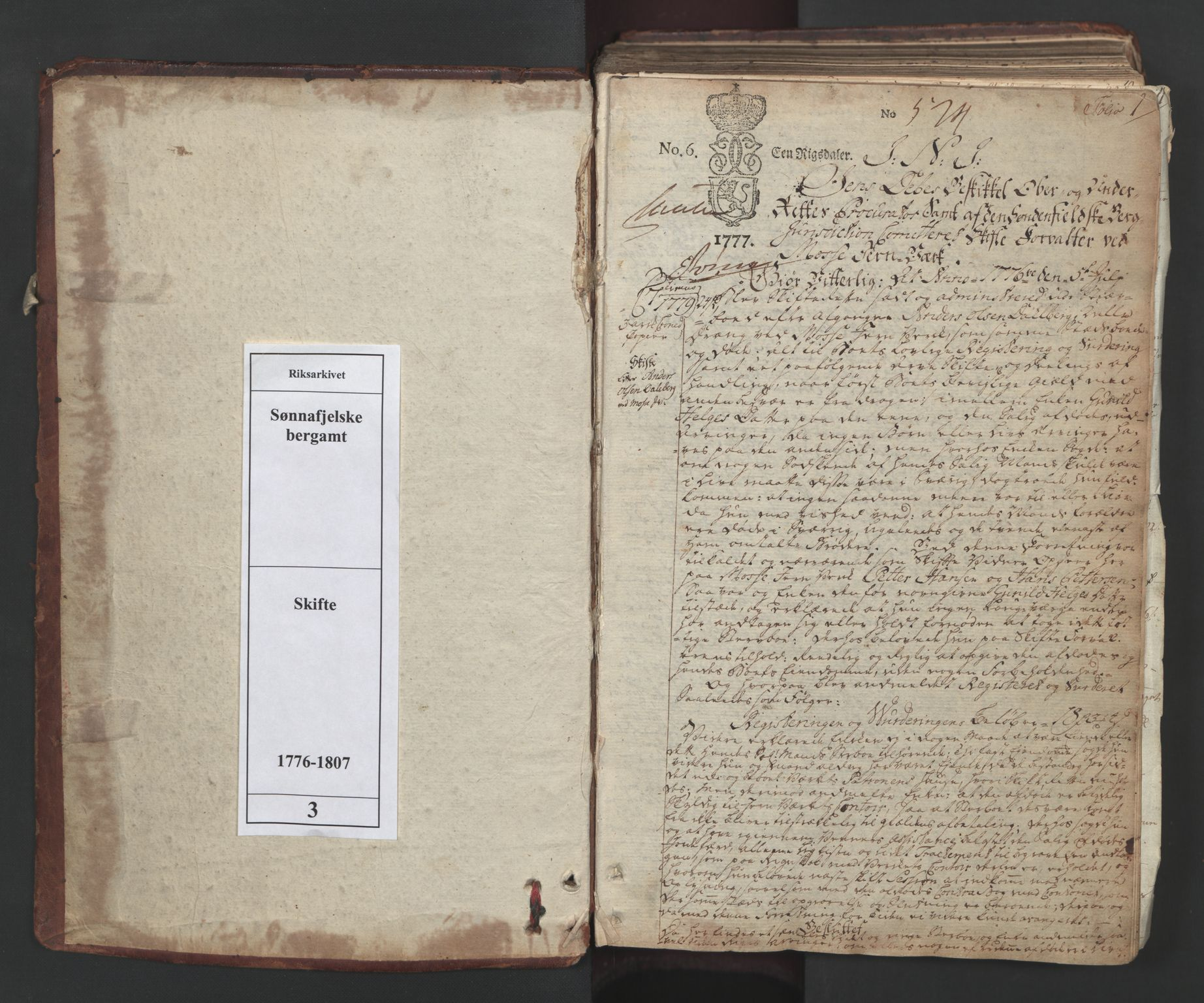 RA, Sønnafjelske bergamt , I/L0003: Skifteprotokoll for sønnafjelske bergverk utenfor Kongsberg bergstad og Vallø saltverk, 1776-1807, s. 1a