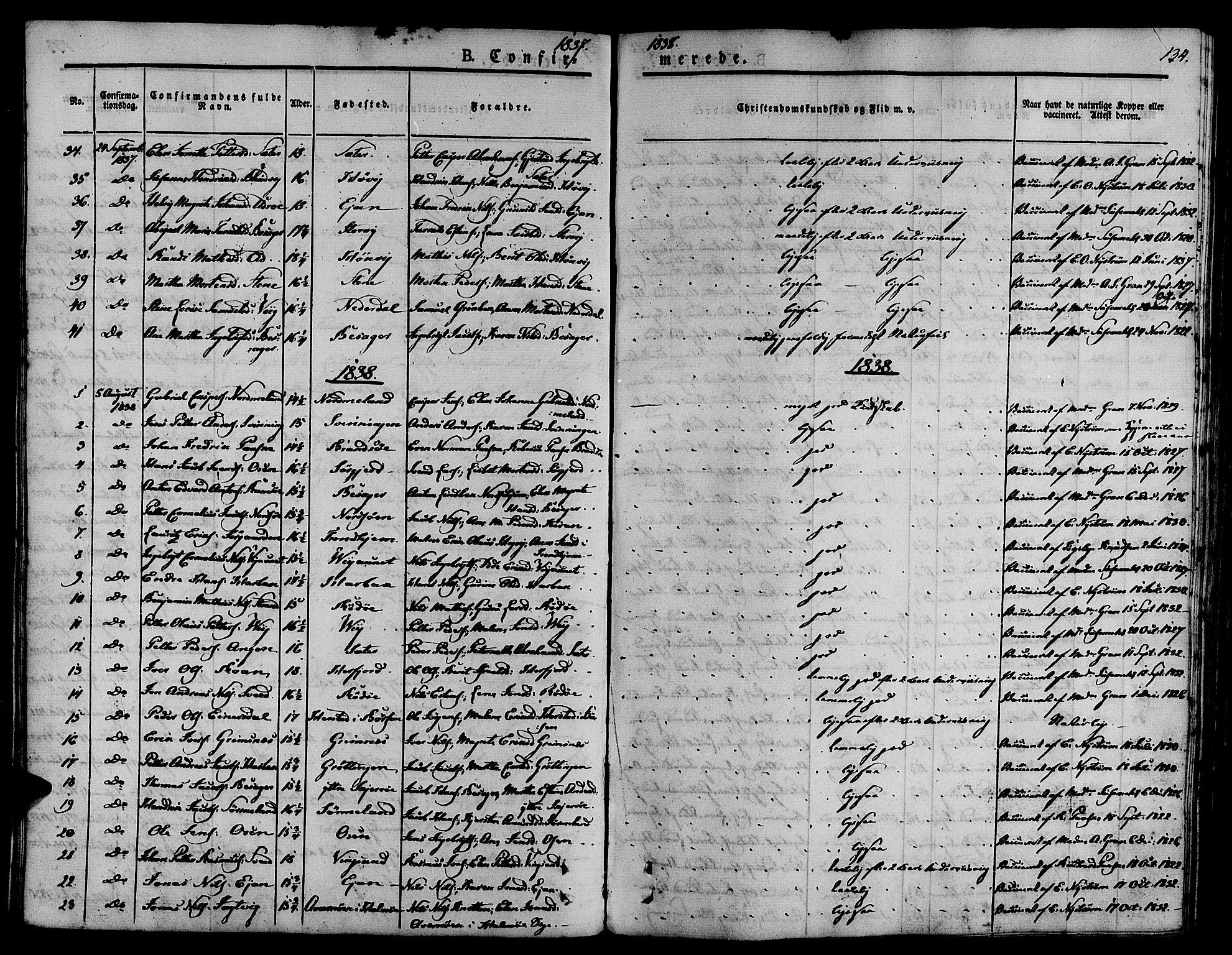 SAT, Ministerialprotokoller, klokkerbøker og fødselsregistre - Sør-Trøndelag, 657/L0703: Ministerialbok nr. 657A04, 1831-1846, s. 134