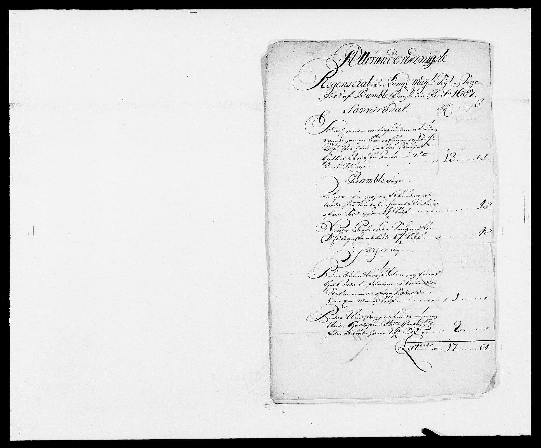 RA, Rentekammeret inntil 1814, Reviderte regnskaper, Fogderegnskap, R34/L2049: Fogderegnskap Bamble, 1685-1687, s. 254