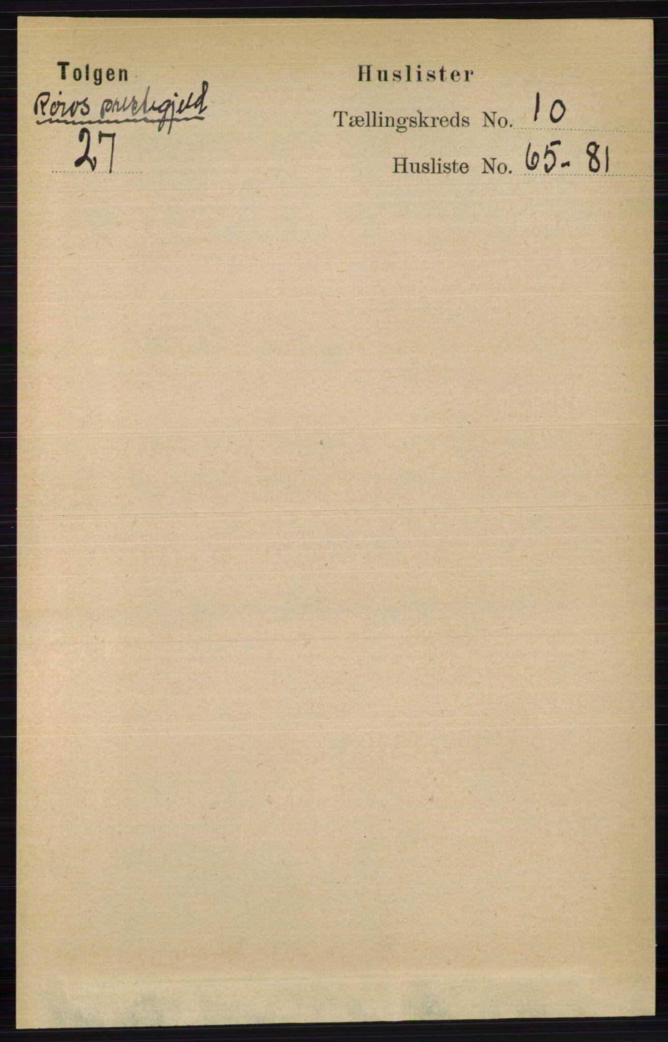 RA, Folketelling 1891 for 0436 Tolga herred, 1891, s. 3027