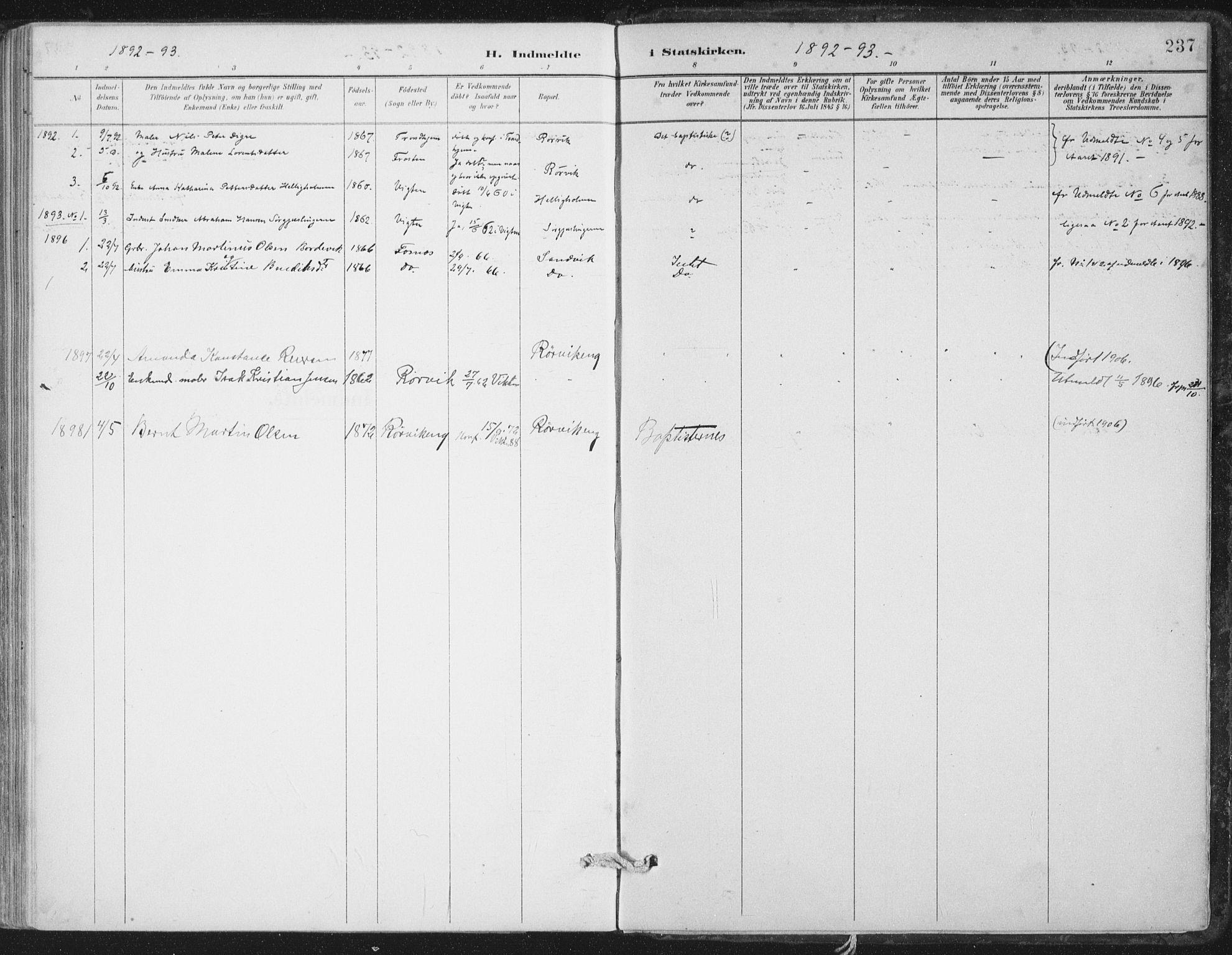 SAT, Ministerialprotokoller, klokkerbøker og fødselsregistre - Nord-Trøndelag, 786/L0687: Ministerialbok nr. 786A03, 1888-1898, s. 237
