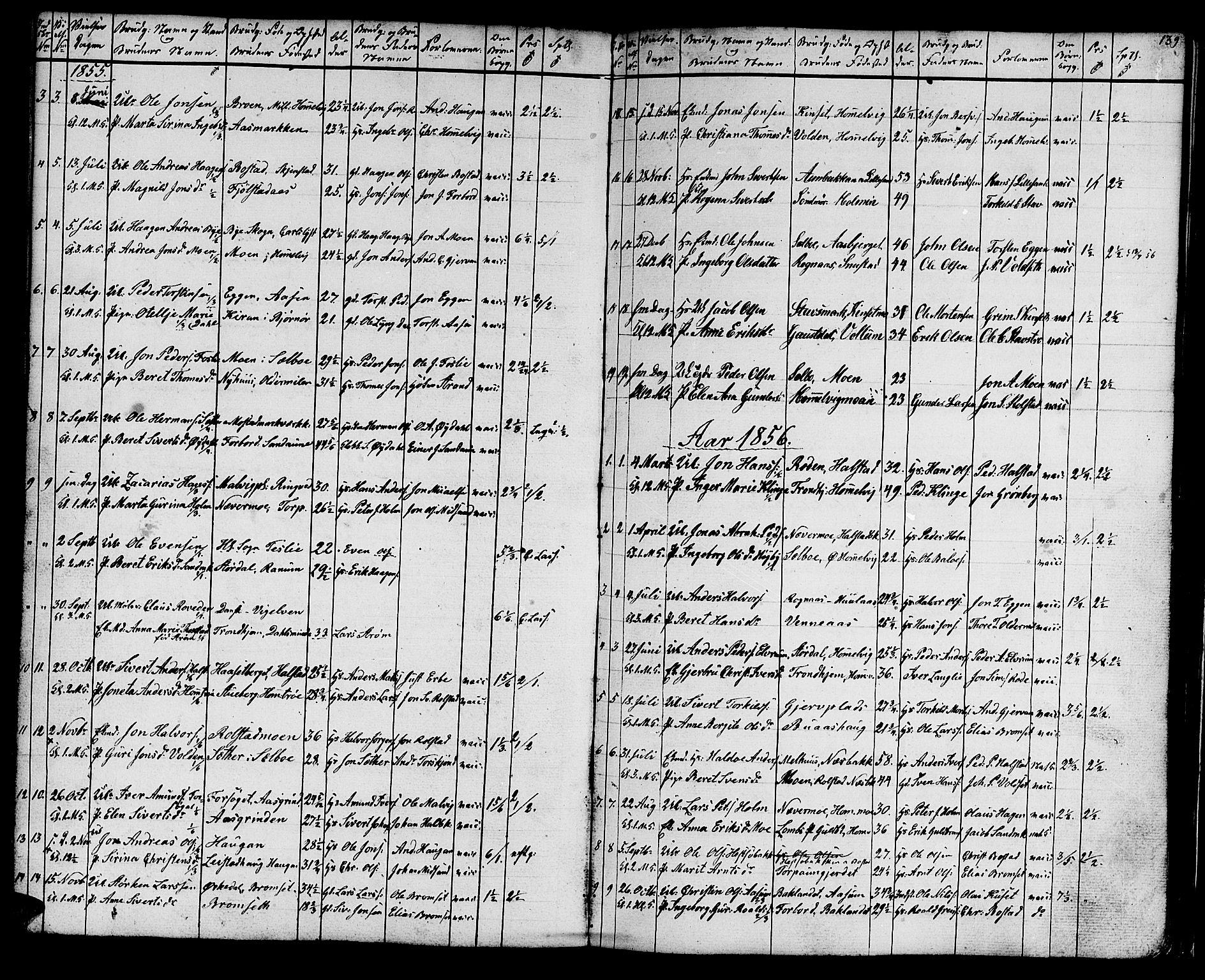 SAT, Ministerialprotokoller, klokkerbøker og fødselsregistre - Sør-Trøndelag, 616/L0422: Klokkerbok nr. 616C05, 1850-1888, s. 139
