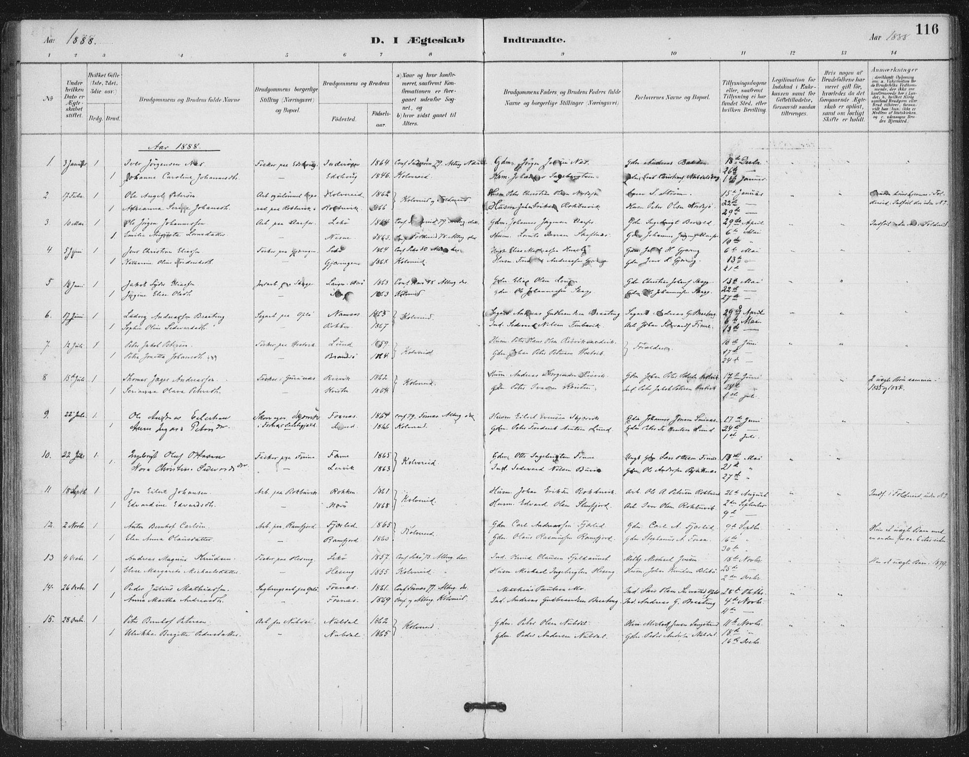 SAT, Ministerialprotokoller, klokkerbøker og fødselsregistre - Nord-Trøndelag, 780/L0644: Ministerialbok nr. 780A08, 1886-1903, s. 116