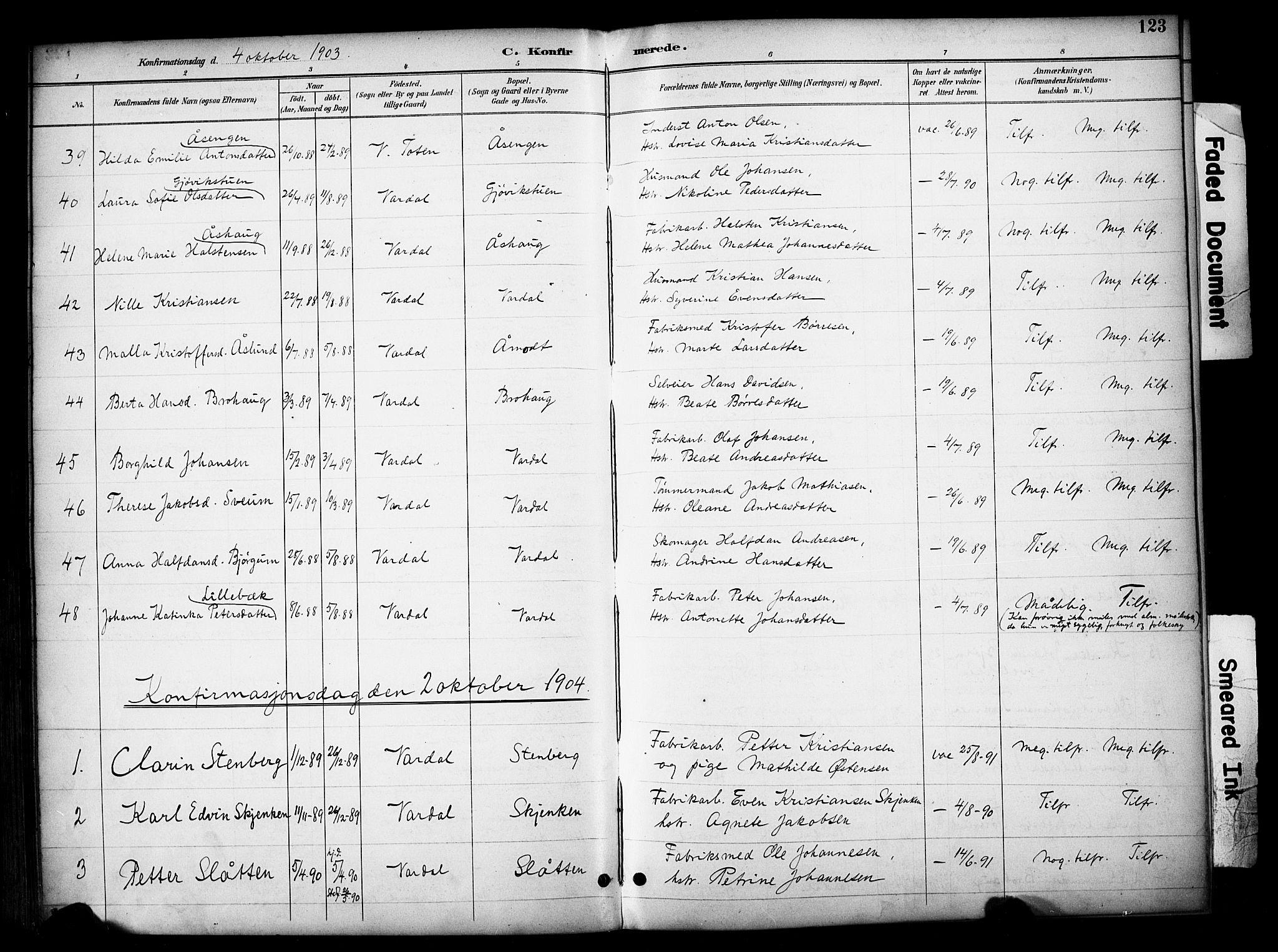 SAH, Vardal prestekontor, H/Ha/Haa/L0012: Ministerialbok nr. 12, 1893-1904, s. 123