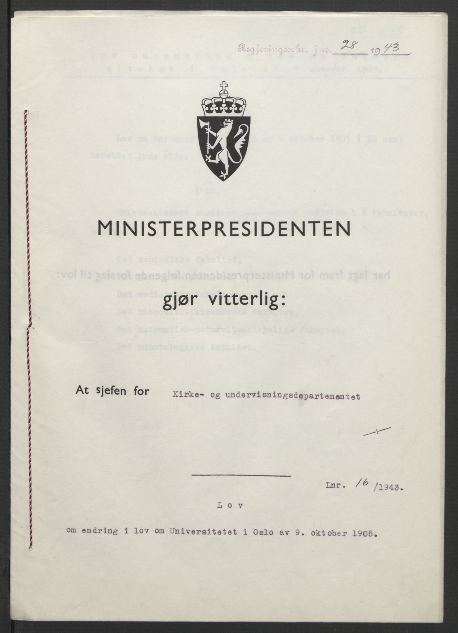RA, NS-administrasjonen 1940-1945 (Statsrådsekretariatet, de kommisariske statsråder mm), D/Db/L0099: Lover, 1943, s. 63