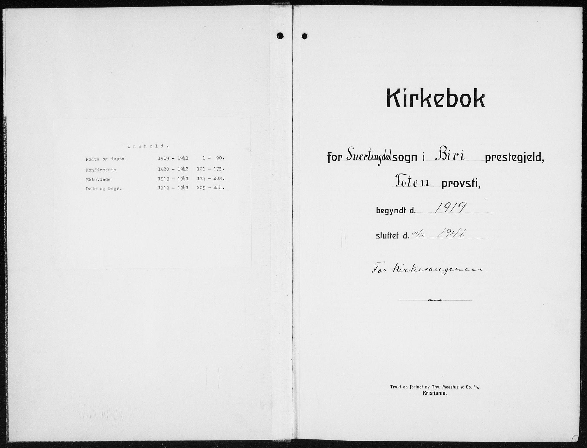 SAH, Biri prestekontor, Klokkerbok nr. 7, 1919-1941