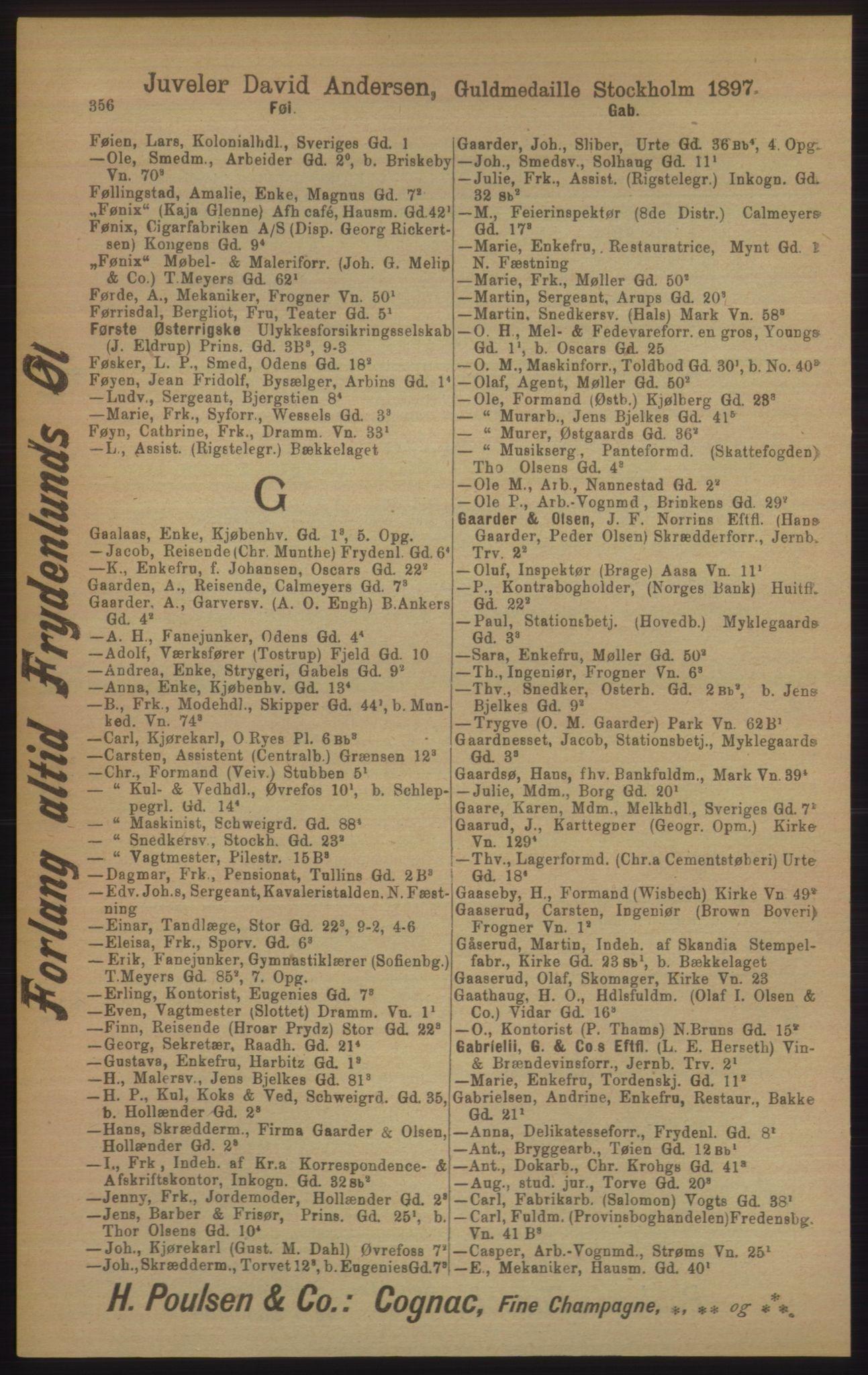 RA, Kristiania adressebok (publikasjon)*, 1906, s. 356