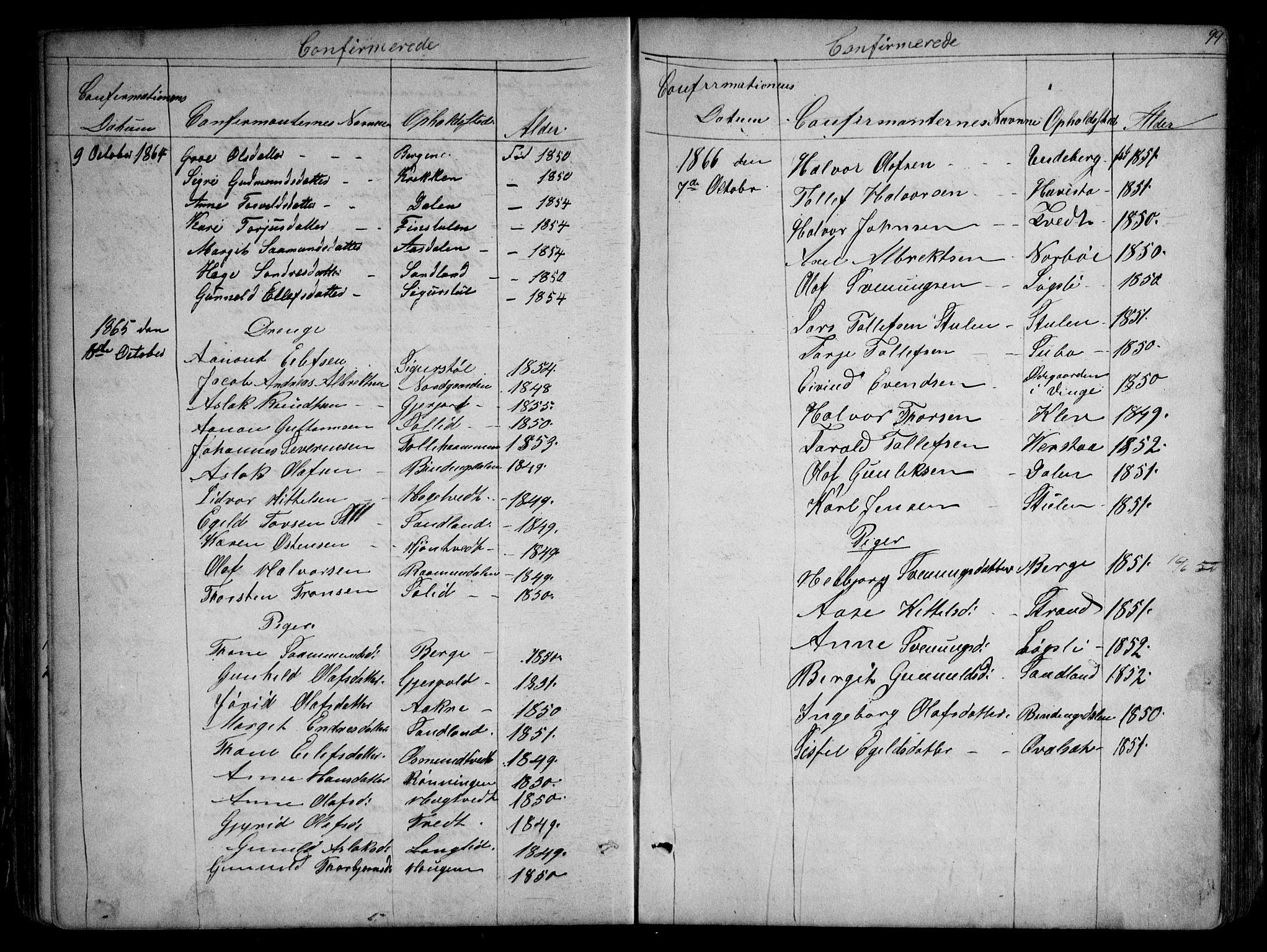 SAKO, Kviteseid kirkebøker, G/Gb/L0002: Klokkerbok nr. II 2, 1850-1892, s. 99