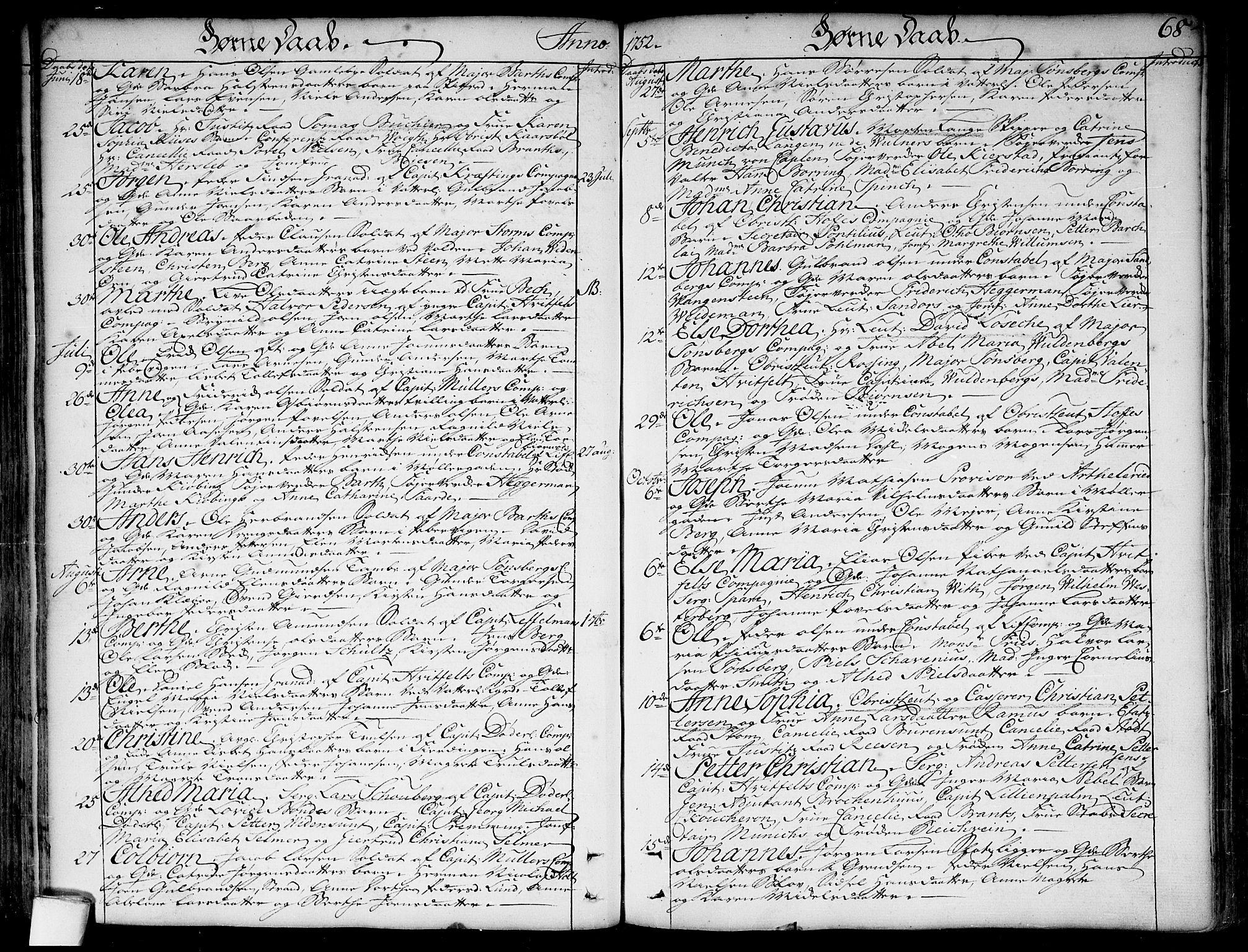 SAO, Garnisonsmenigheten Kirkebøker, F/Fa/L0001: Ministerialbok nr. 1, 1734-1756, s. 68