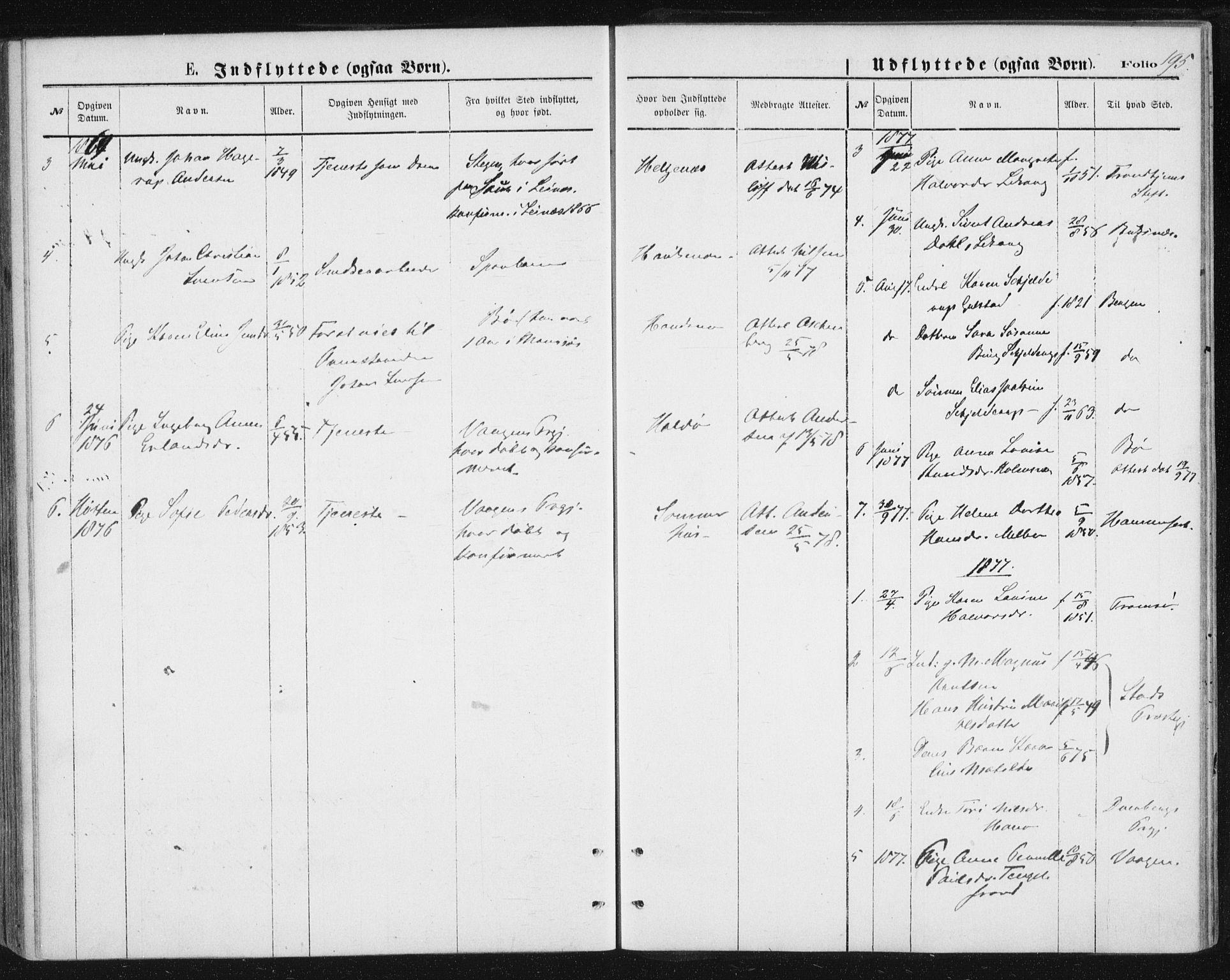 SAT, Ministerialprotokoller, klokkerbøker og fødselsregistre - Nordland, 888/L1243: Ministerialbok nr. 888A09, 1876-1879, s. 195