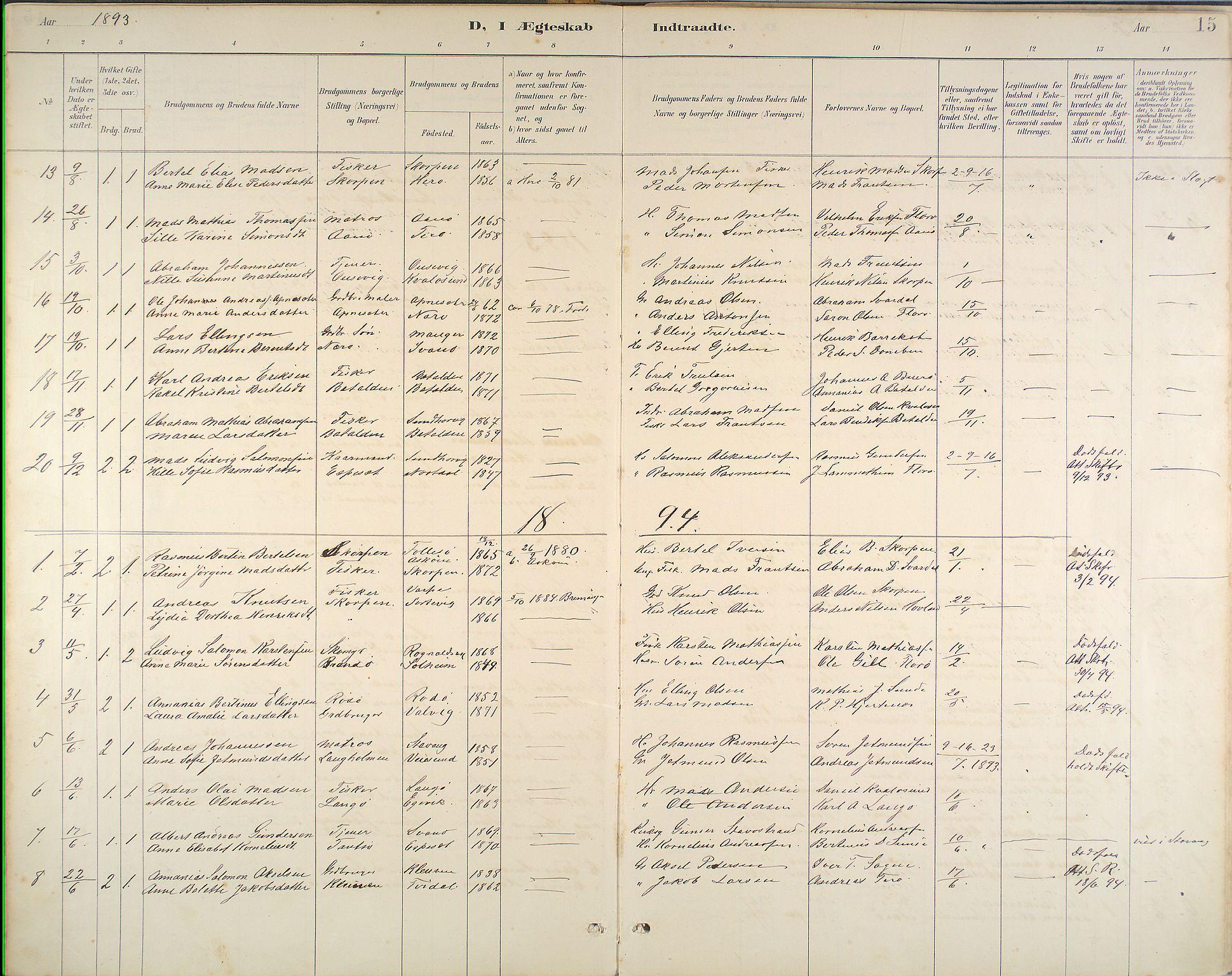 Kinn Sokneprestembete, Ministerialbok nr. B 3, 1886-1936, s. 15