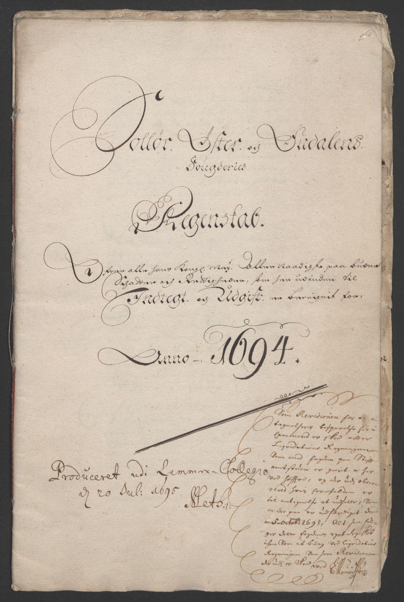 RA, Rentekammeret inntil 1814, Reviderte regnskaper, Fogderegnskap, R13/L0832: Fogderegnskap Solør, Odal og Østerdal, 1694, s. 4
