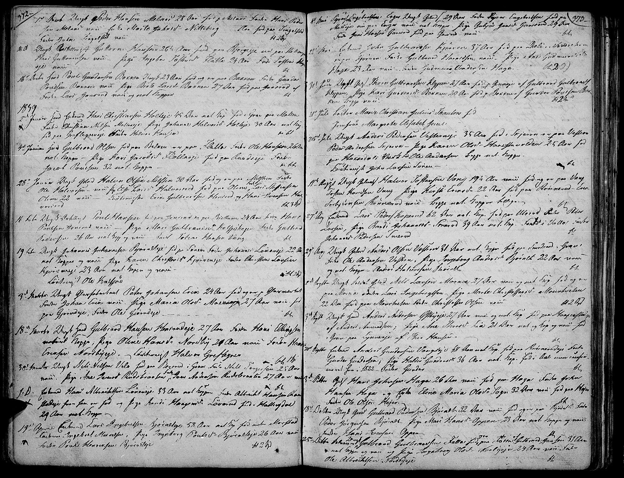 SAH, Jevnaker prestekontor, Ministerialbok nr. 4, 1800-1861, s. 372-373
