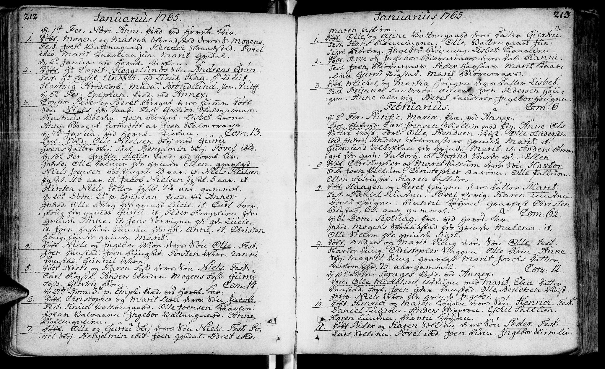 SAT, Ministerialprotokoller, klokkerbøker og fødselsregistre - Sør-Trøndelag, 646/L0605: Ministerialbok nr. 646A03, 1751-1790, s. 212-213