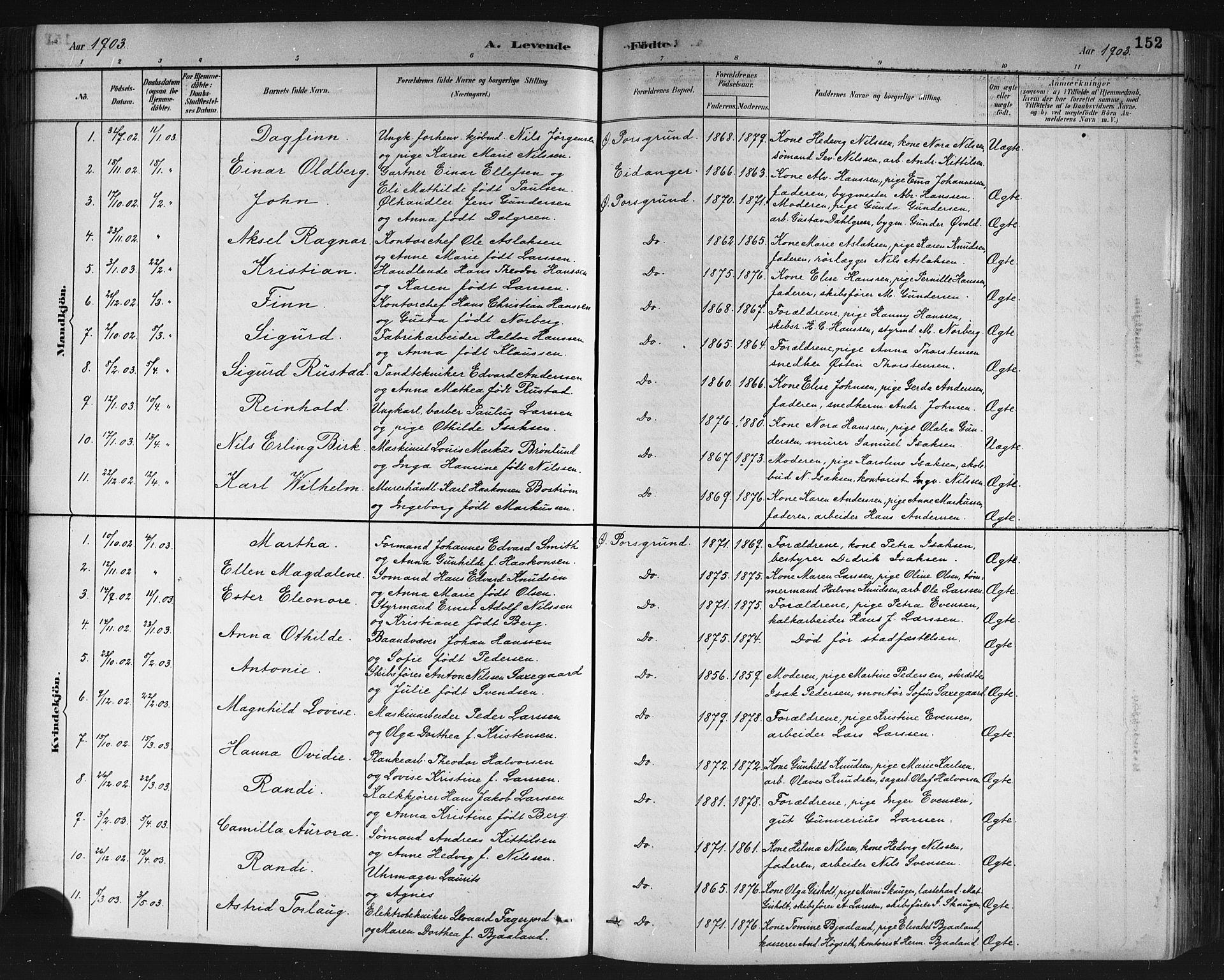 SAKO, Porsgrunn kirkebøker , G/Gb/L0005: Klokkerbok nr. II 5, 1883-1915, s. 152