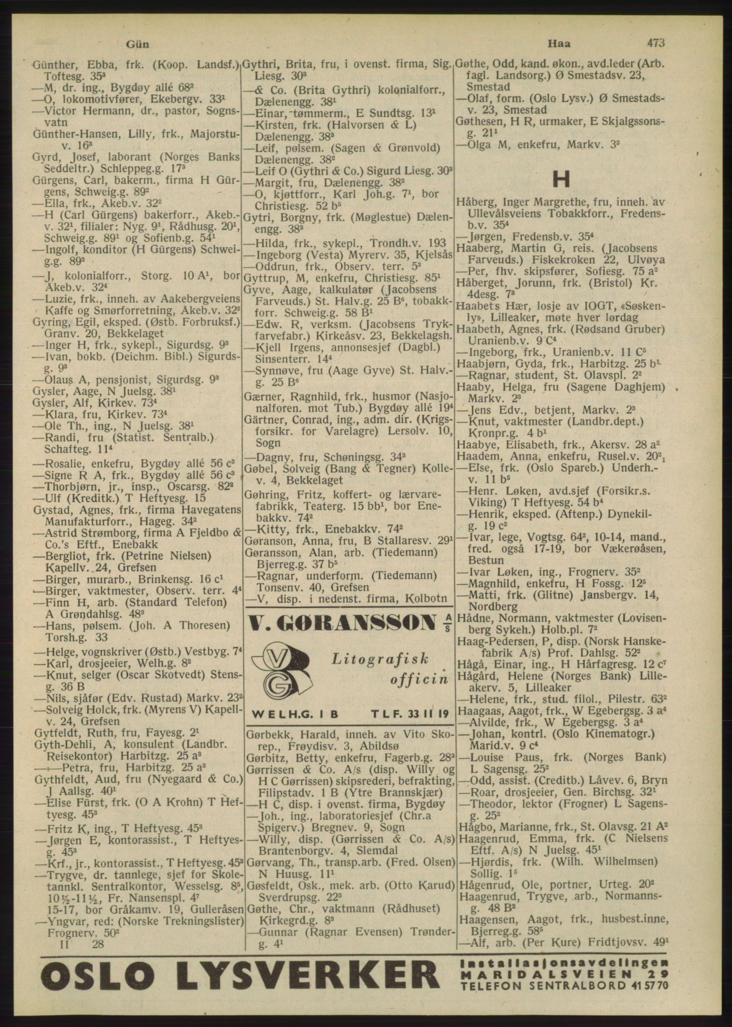 PUBL, Kristiania/Oslo adressebok, 1948, s. 473