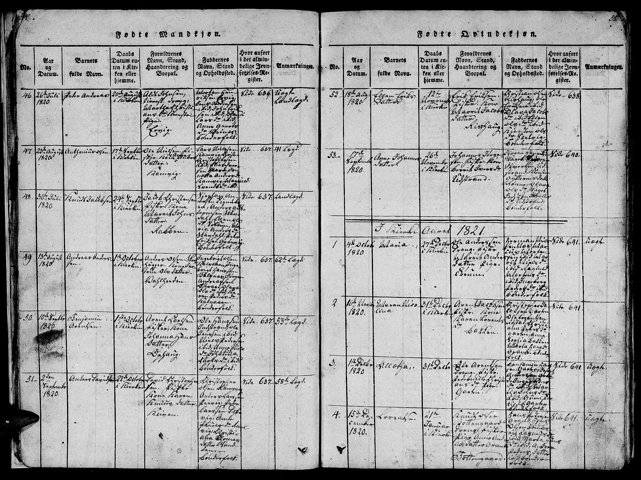 SAT, Ministerialprotokoller, klokkerbøker og fødselsregistre - Sør-Trøndelag, 659/L0744: Klokkerbok nr. 659C01, 1818-1825, s. 54-55